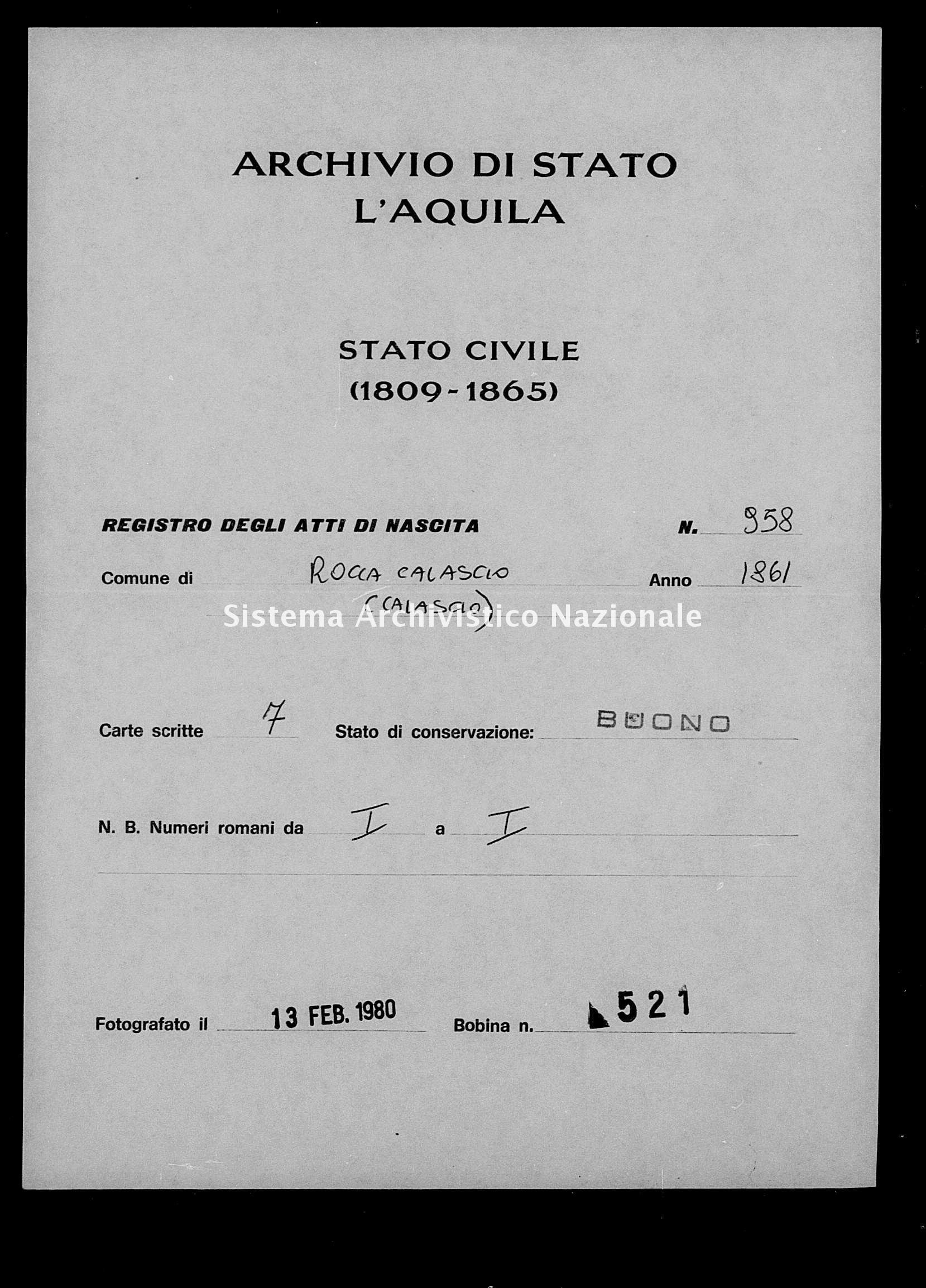 Archivio di stato di L'aquila - Stato civile italiano - Rocca Calascio - Nati - 1861 - 958 -