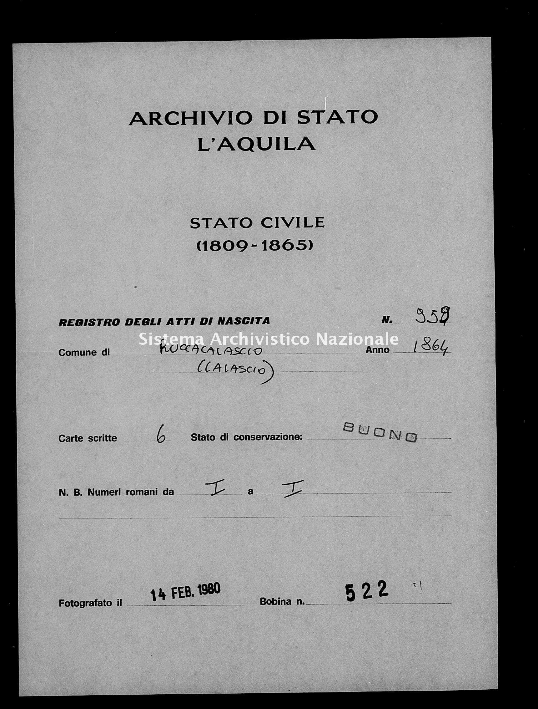 Archivio di stato di L'aquila - Stato civile italiano - Rocca Calascio - Nati - 1864 - 959 -