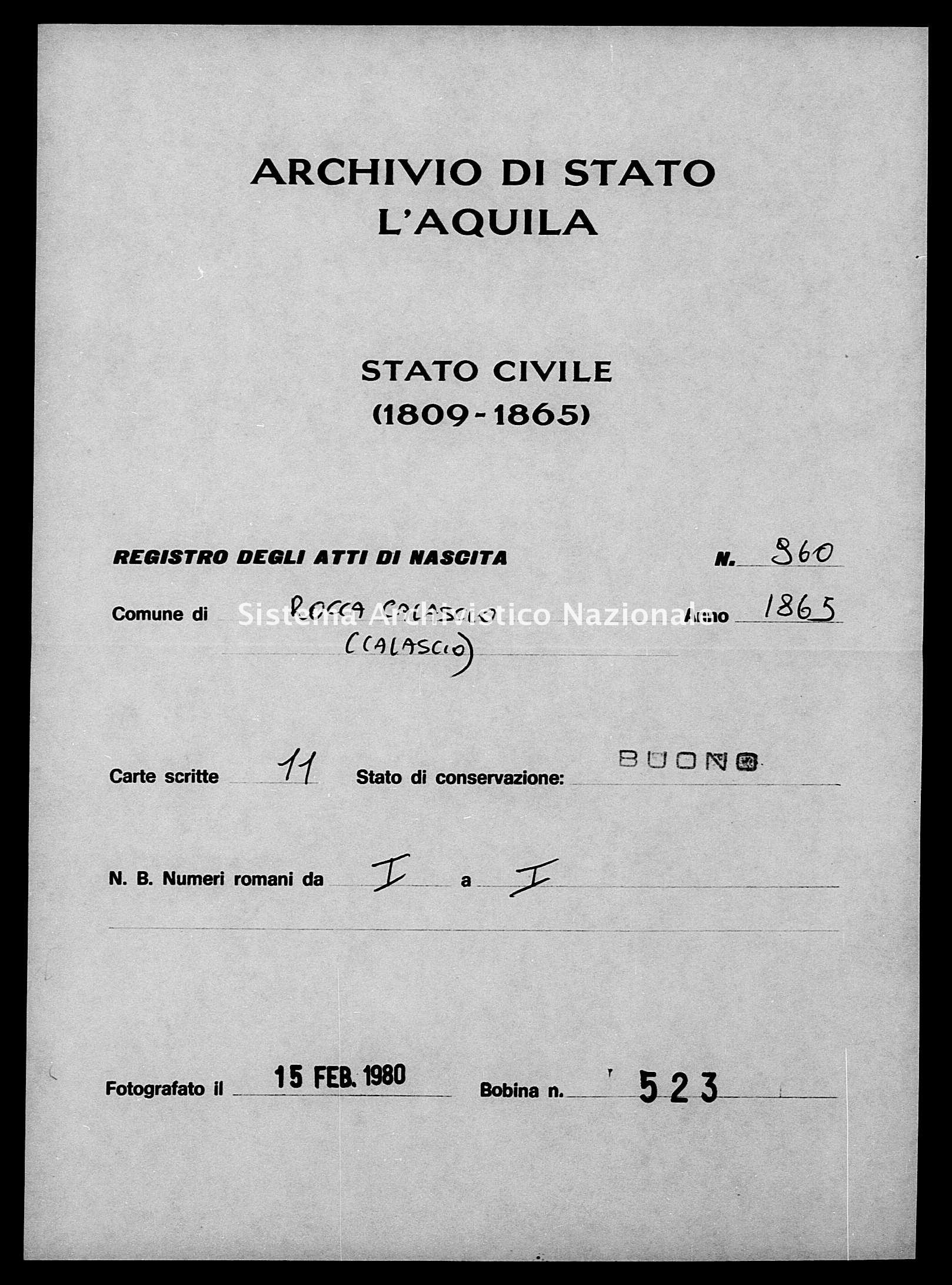 Archivio di stato di L'aquila - Stato civile italiano - Rocca Calascio - Nati - 1865 - 960 -