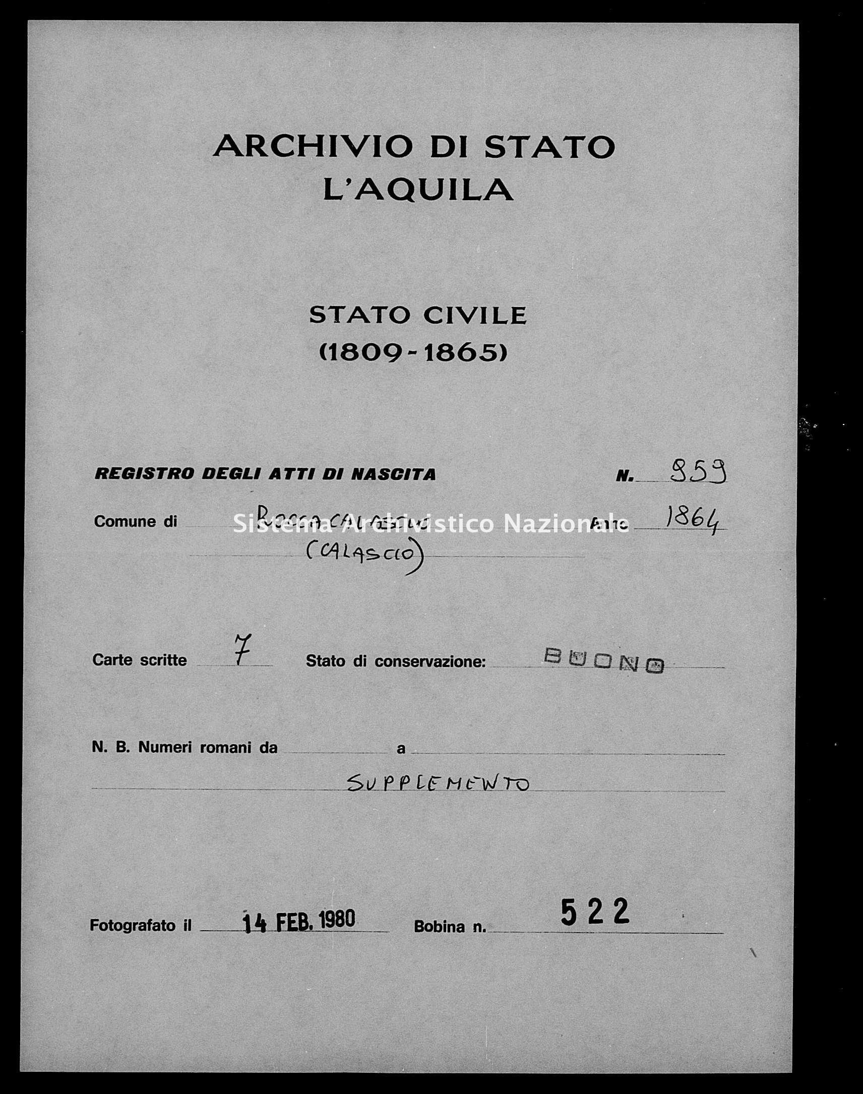 Archivio di stato di L'aquila - Stato civile italiano - Rocca Calascio - Nati, battesimi - 1864 - 959 -