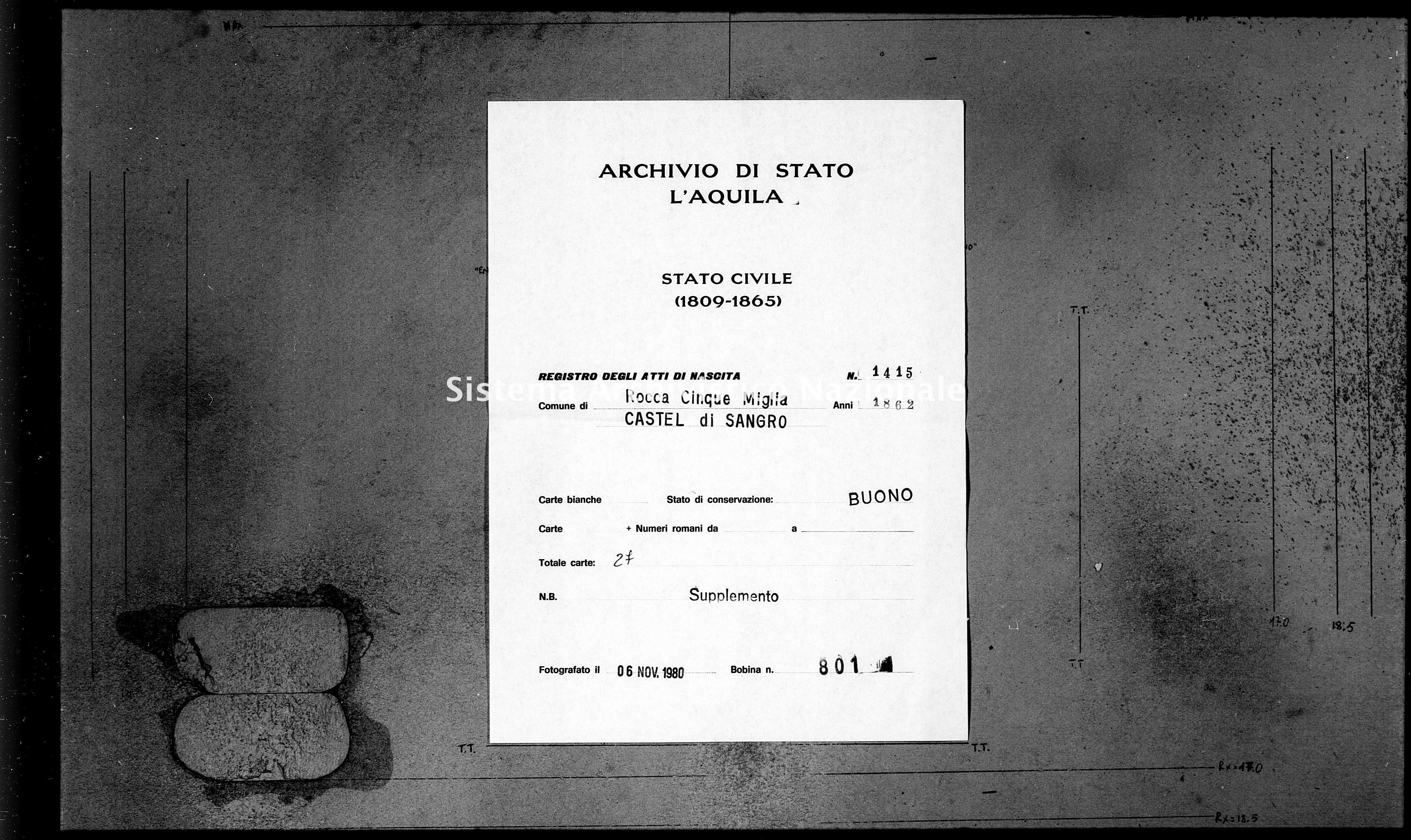Archivio di stato di L'aquila - Stato civile italiano - Rocca Cinquemiglia - Nati, battesimi - 1862 - 1415 -