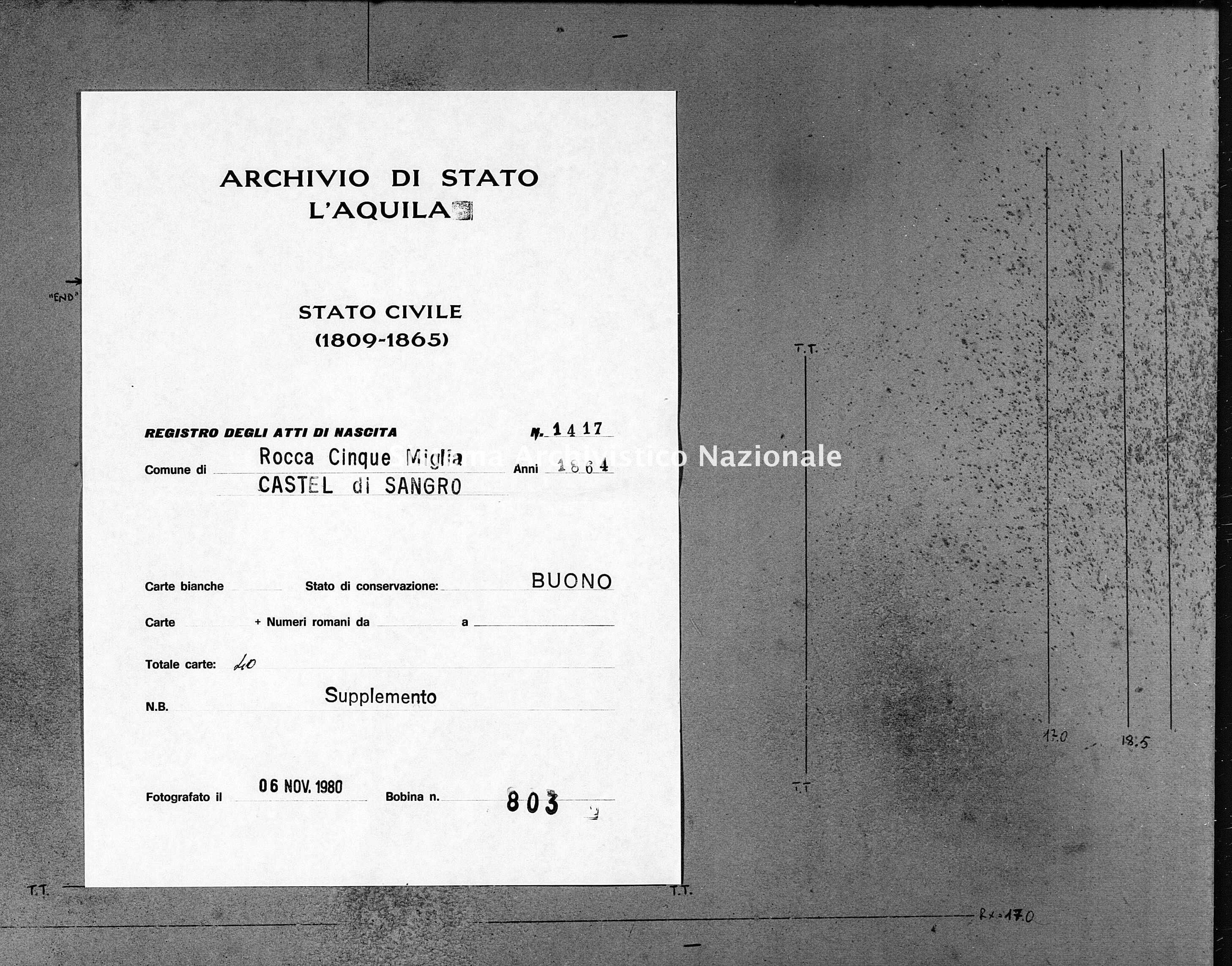 Archivio di stato di L'aquila - Stato civile italiano - Rocca Cinquemiglia - Nati, battesimi - 1864 - 1417 -