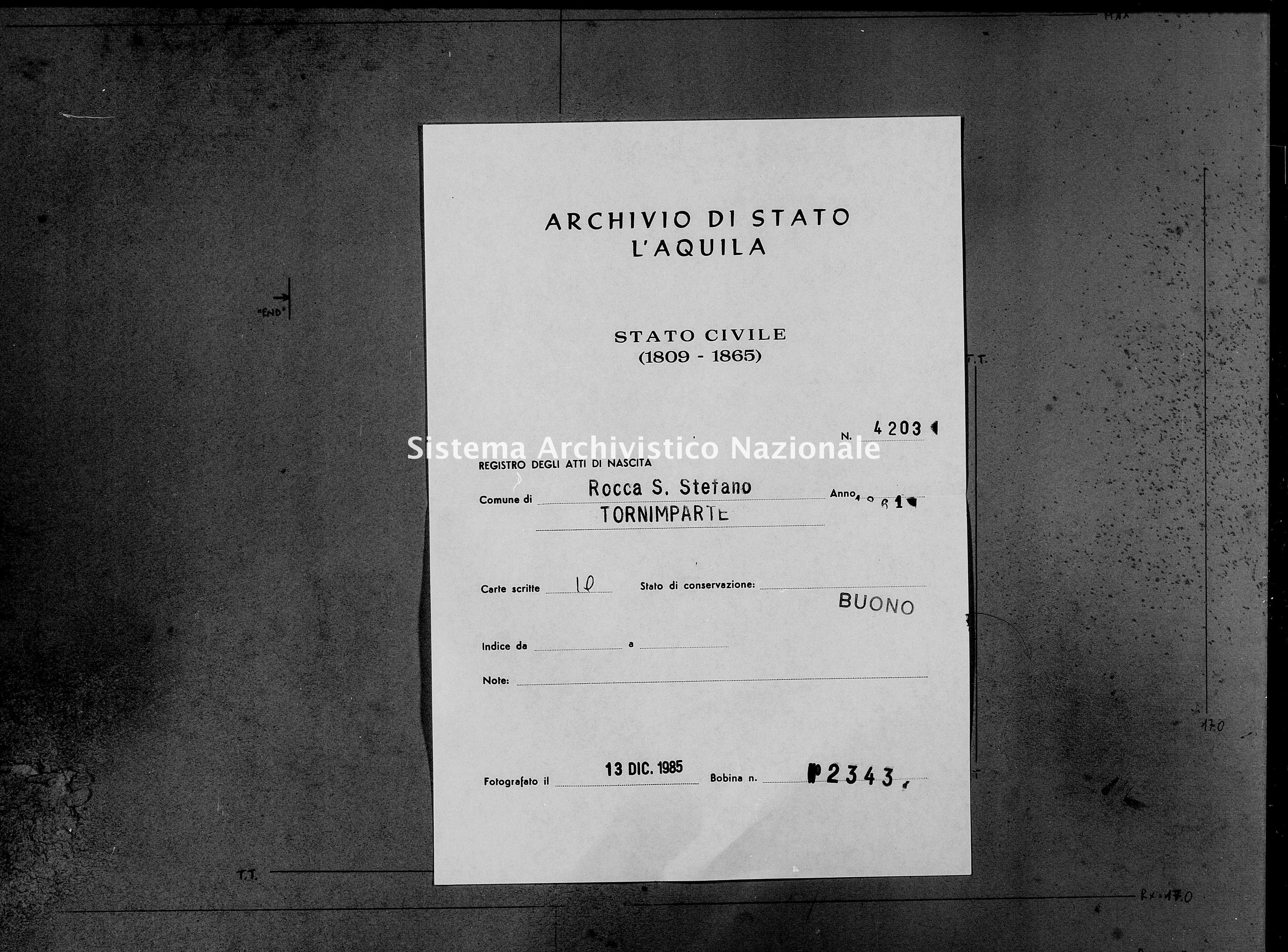Archivio di stato di L'aquila - Stato civile italiano - Rocca Santo Stefano - Nati - 1861 - 4203 -