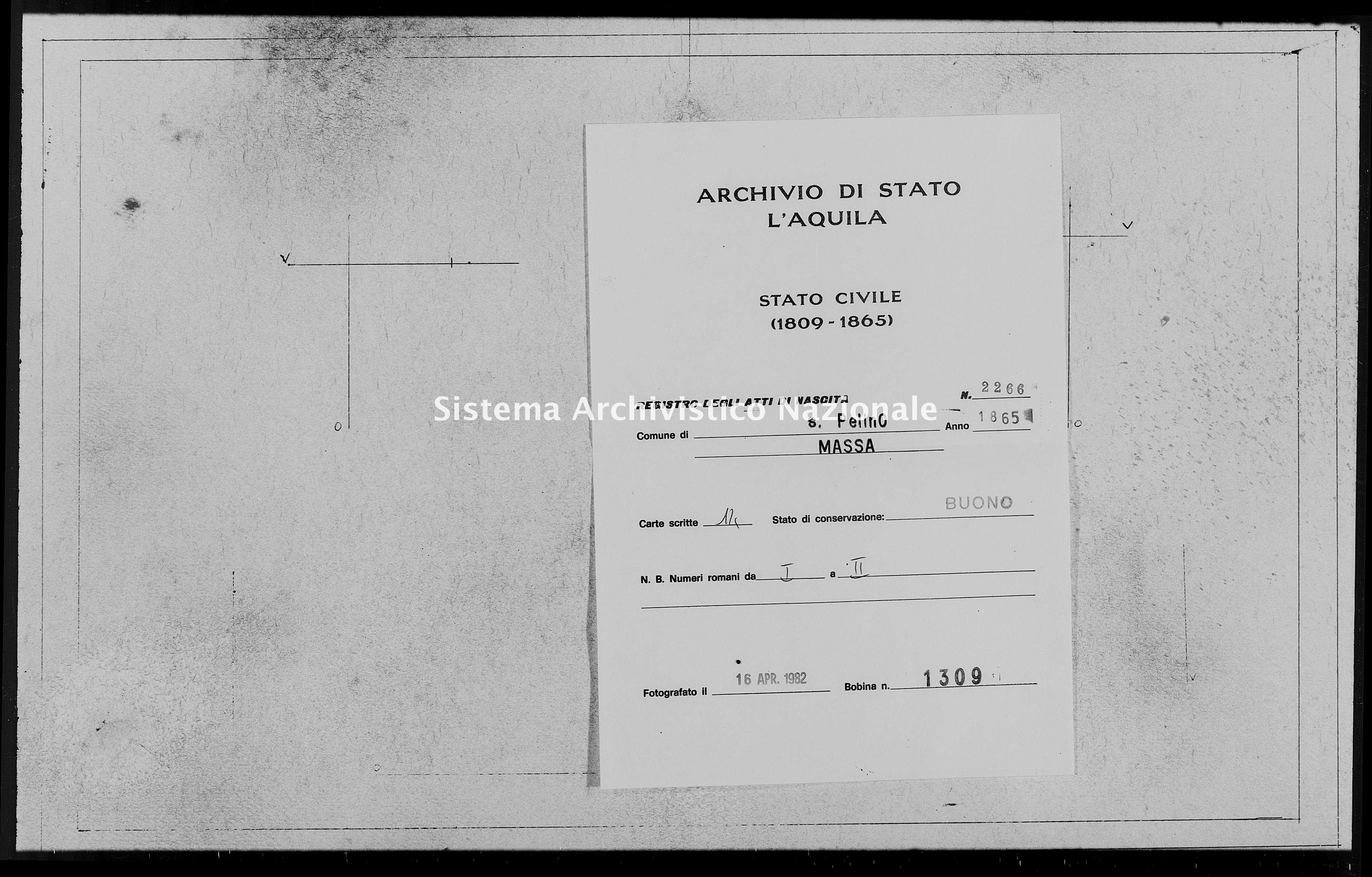 Archivio di stato di L'aquila - Stato civile italiano - San Pelino - Nati - 1865 - 2266 -