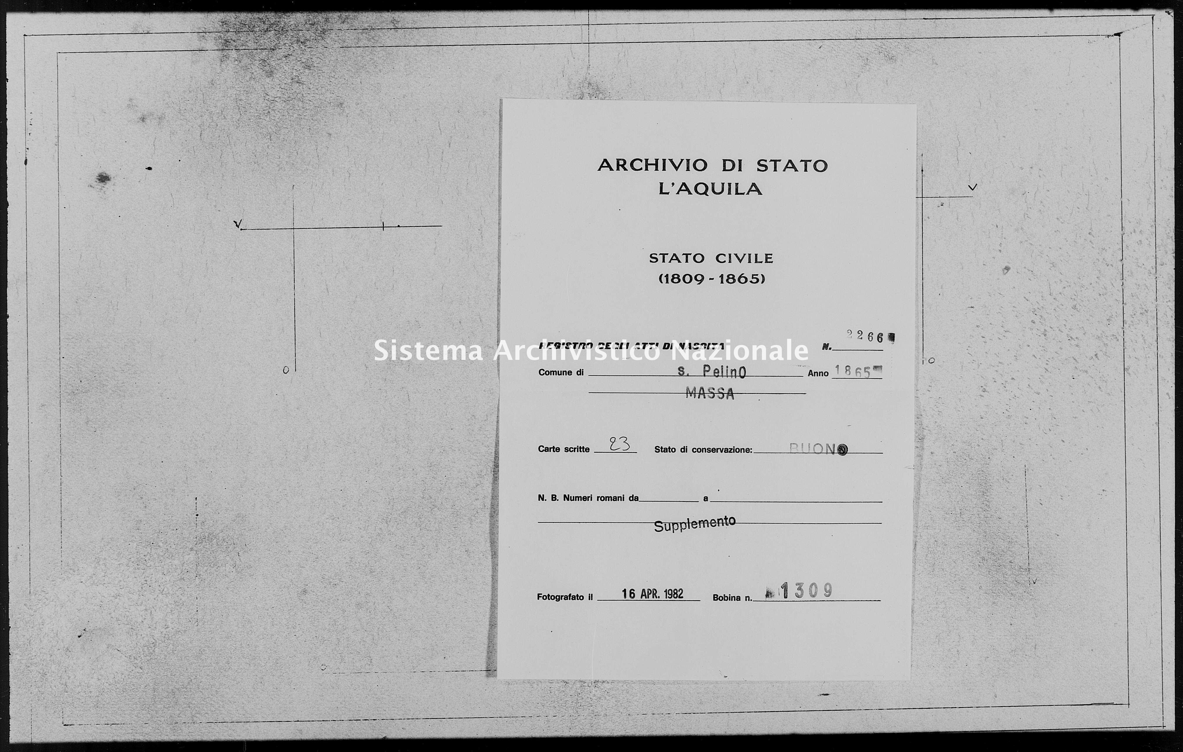Archivio di stato di L'aquila - Stato civile italiano - San Pelino - Nati, battesimi - 1865 - 2266 -