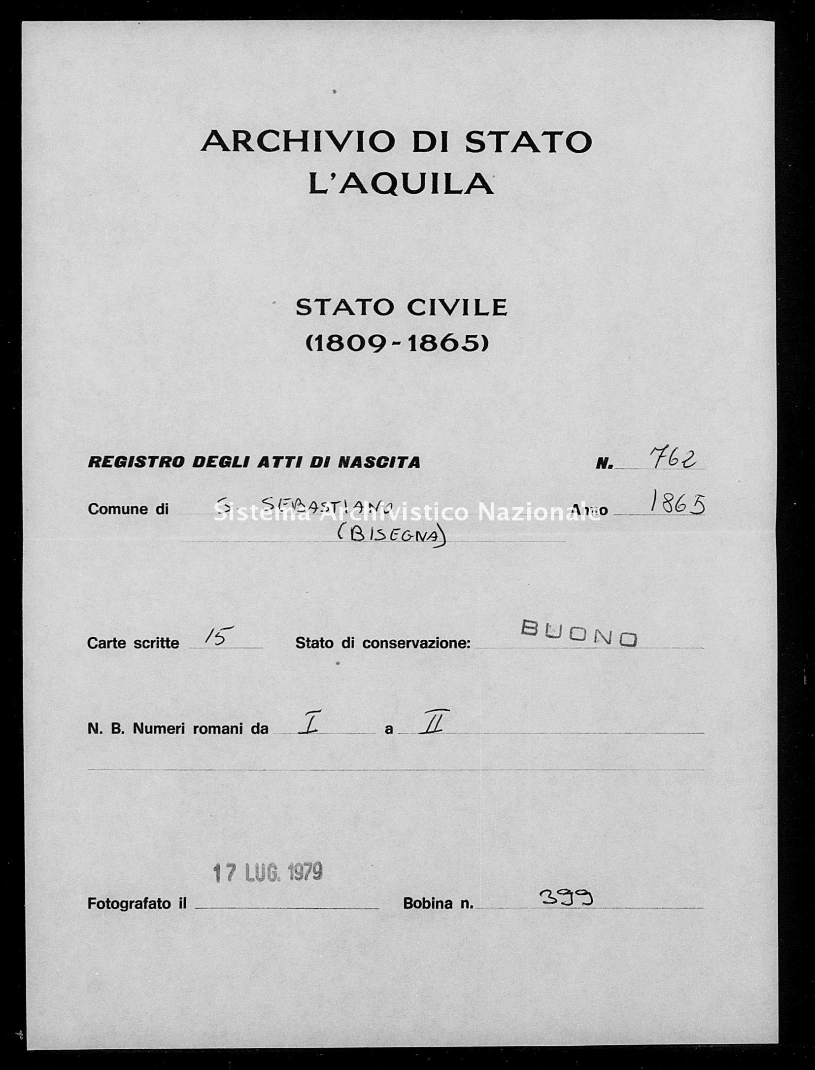 Archivio di stato di L'aquila - Stato civile italiano - San Sebastiano - Nati - 1865 - 762 -