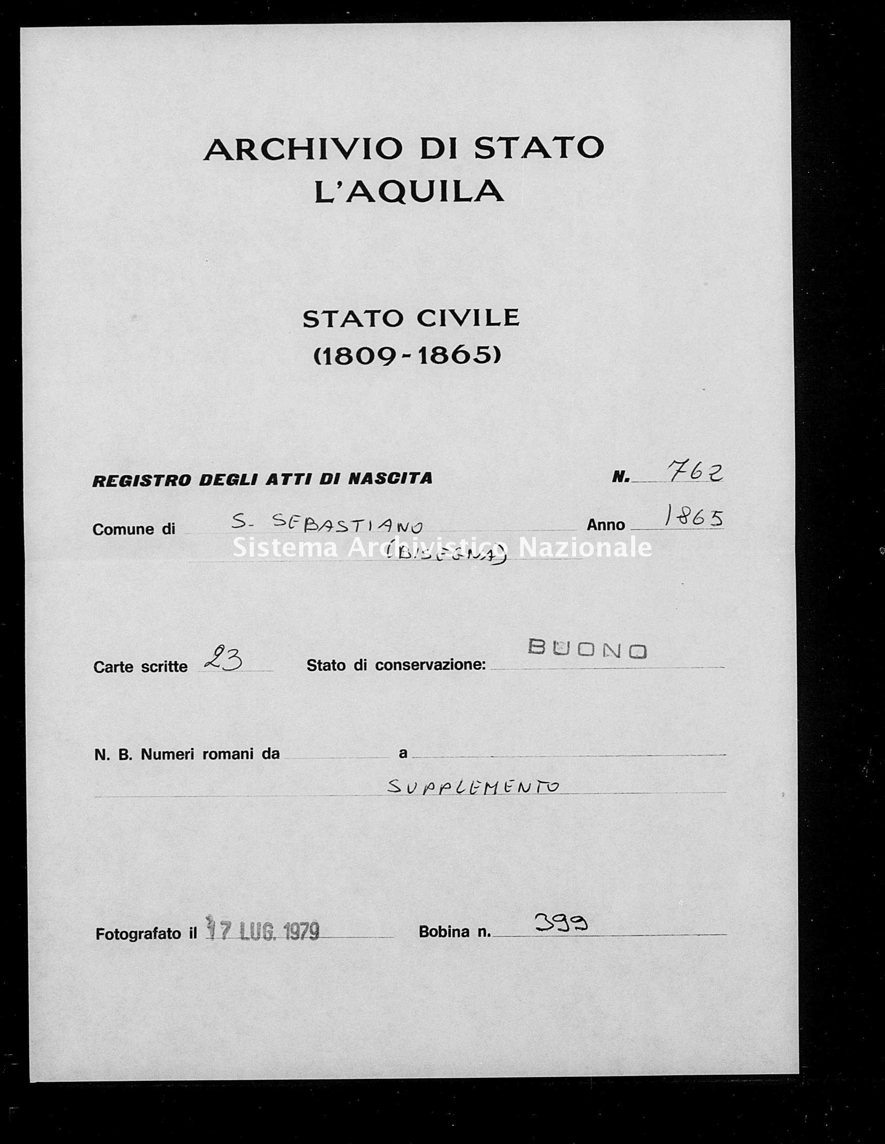 Archivio di stato di L'aquila - Stato civile italiano - San Sebastiano - Nati, battesimi - 1865 - 762 -
