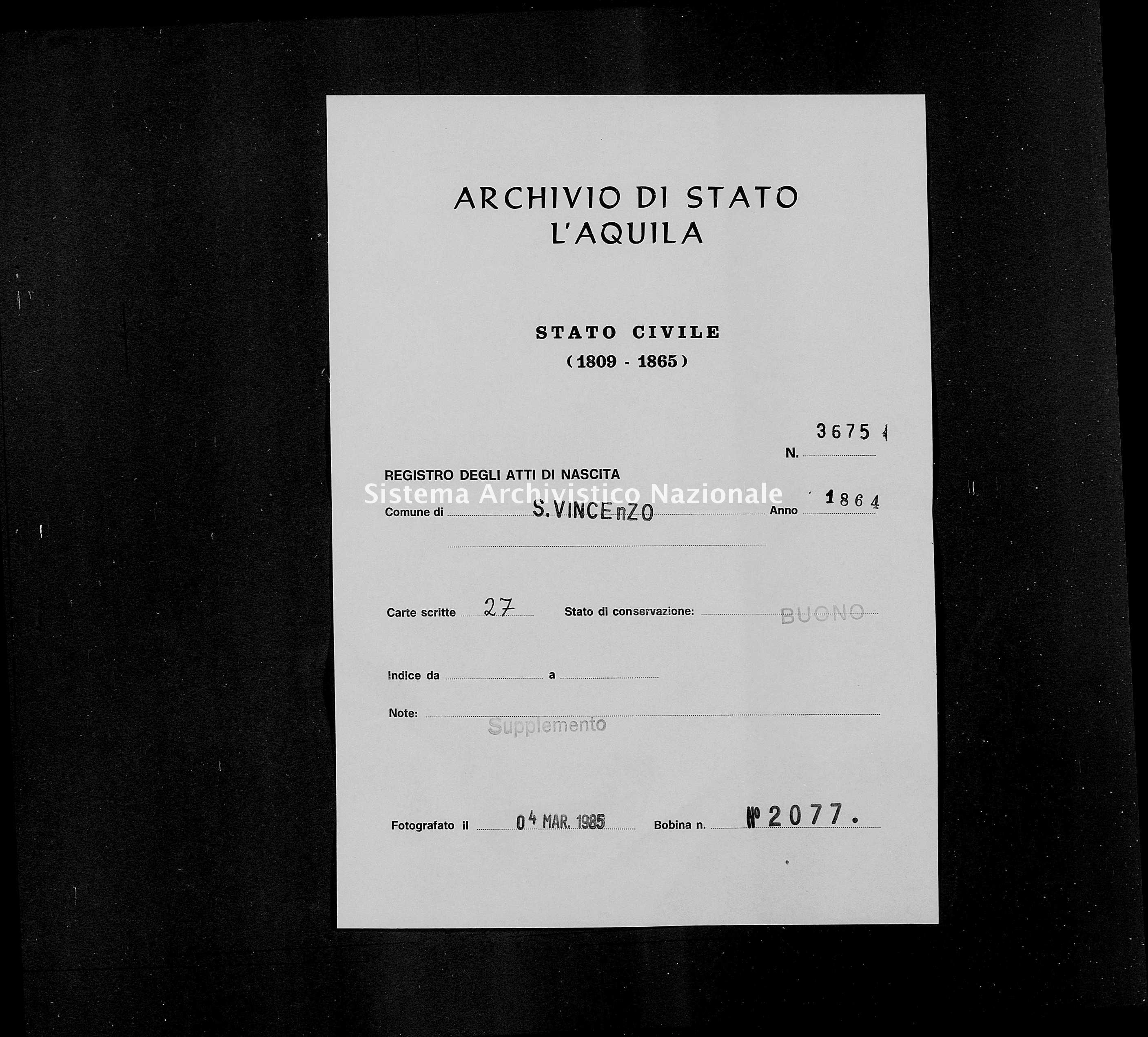 Archivio di stato di L'aquila - Stato civile italiano - San Vincenzo Valle Roveto - Nati, battesimi - 1864 - 3675 -