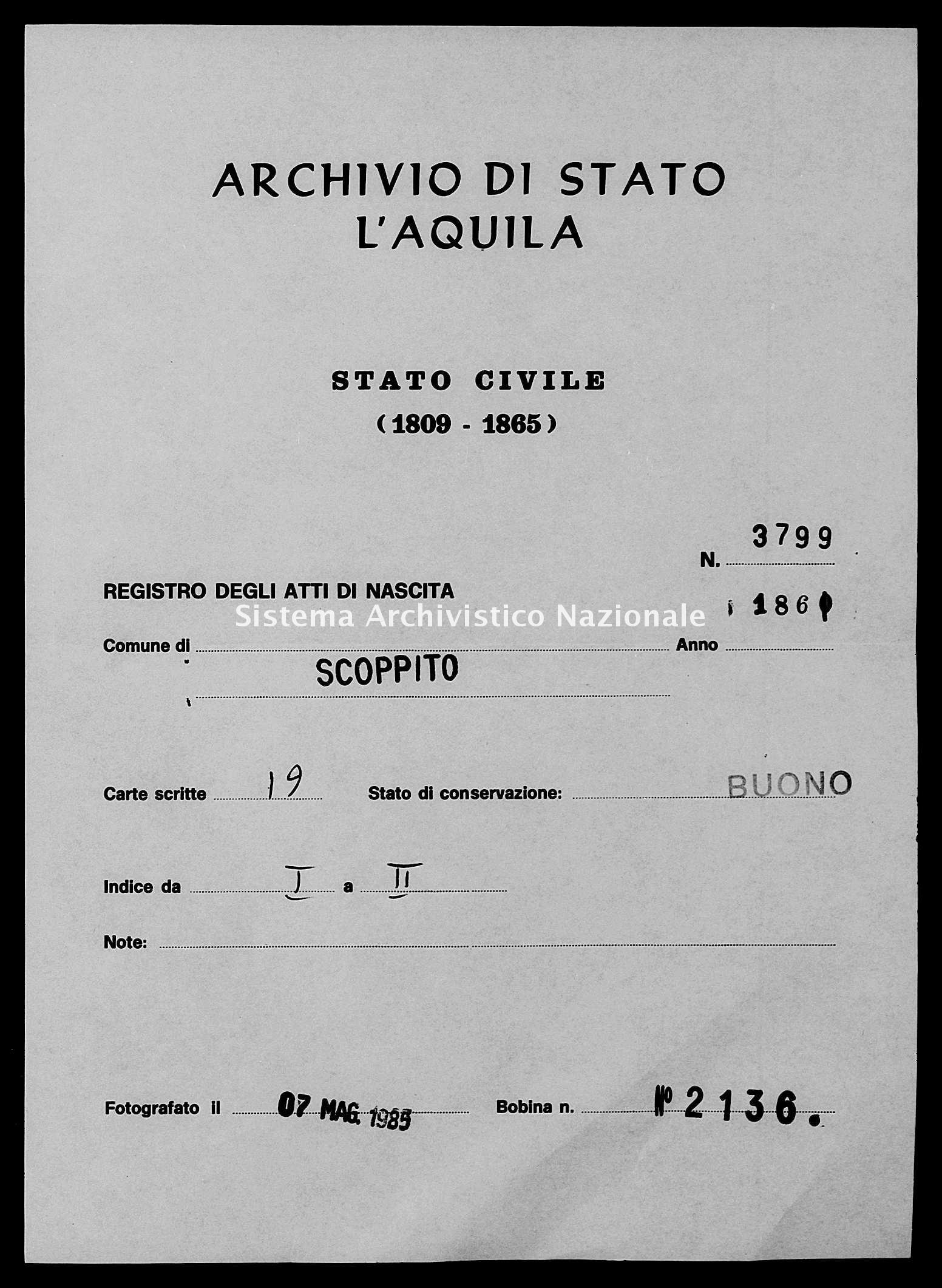 Archivio di stato di L'aquila - Stato civile italiano - Scoppito - Nati - 1861 - 3799 -