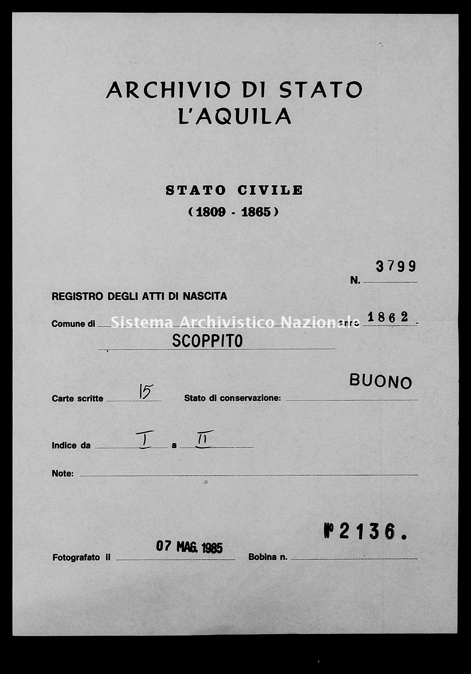 Archivio di stato di L'aquila - Stato civile italiano - Scoppito - Nati - 1862 - 3799 -