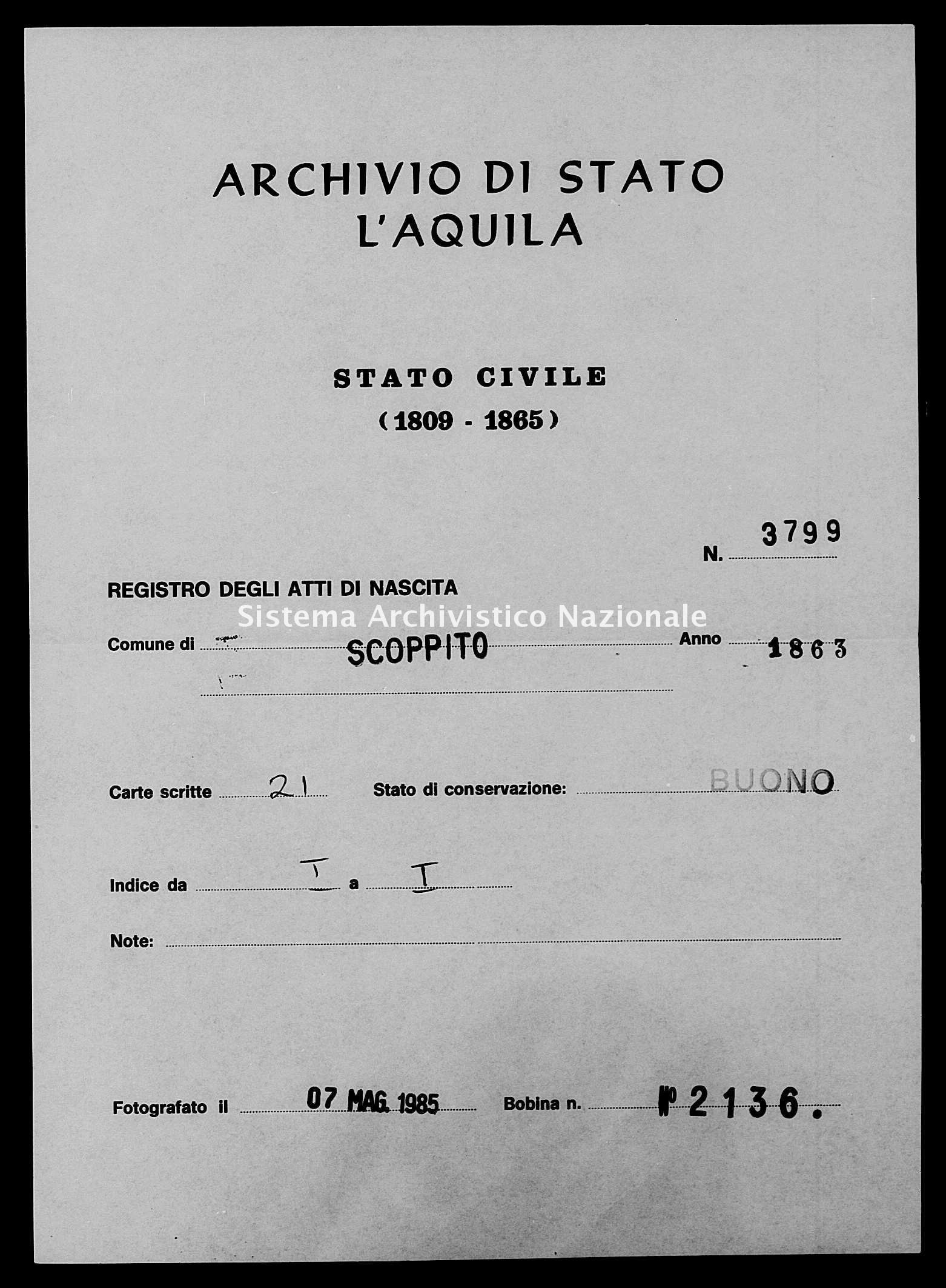 Archivio di stato di L'aquila - Stato civile italiano - Scoppito - Nati - 1863 - 3799 -