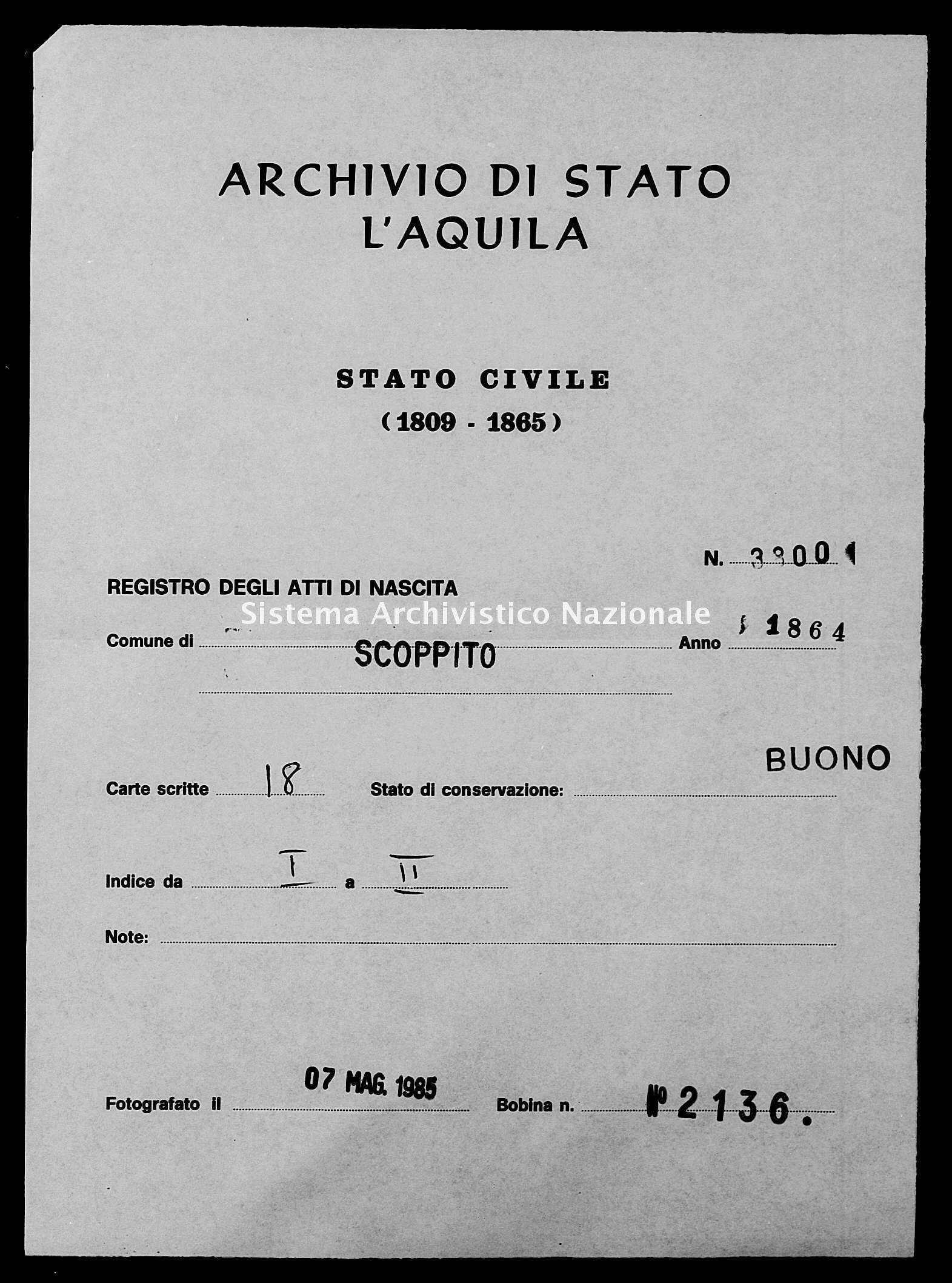 Archivio di stato di L'aquila - Stato civile italiano - Scoppito - Nati - 1864 - 3800 -