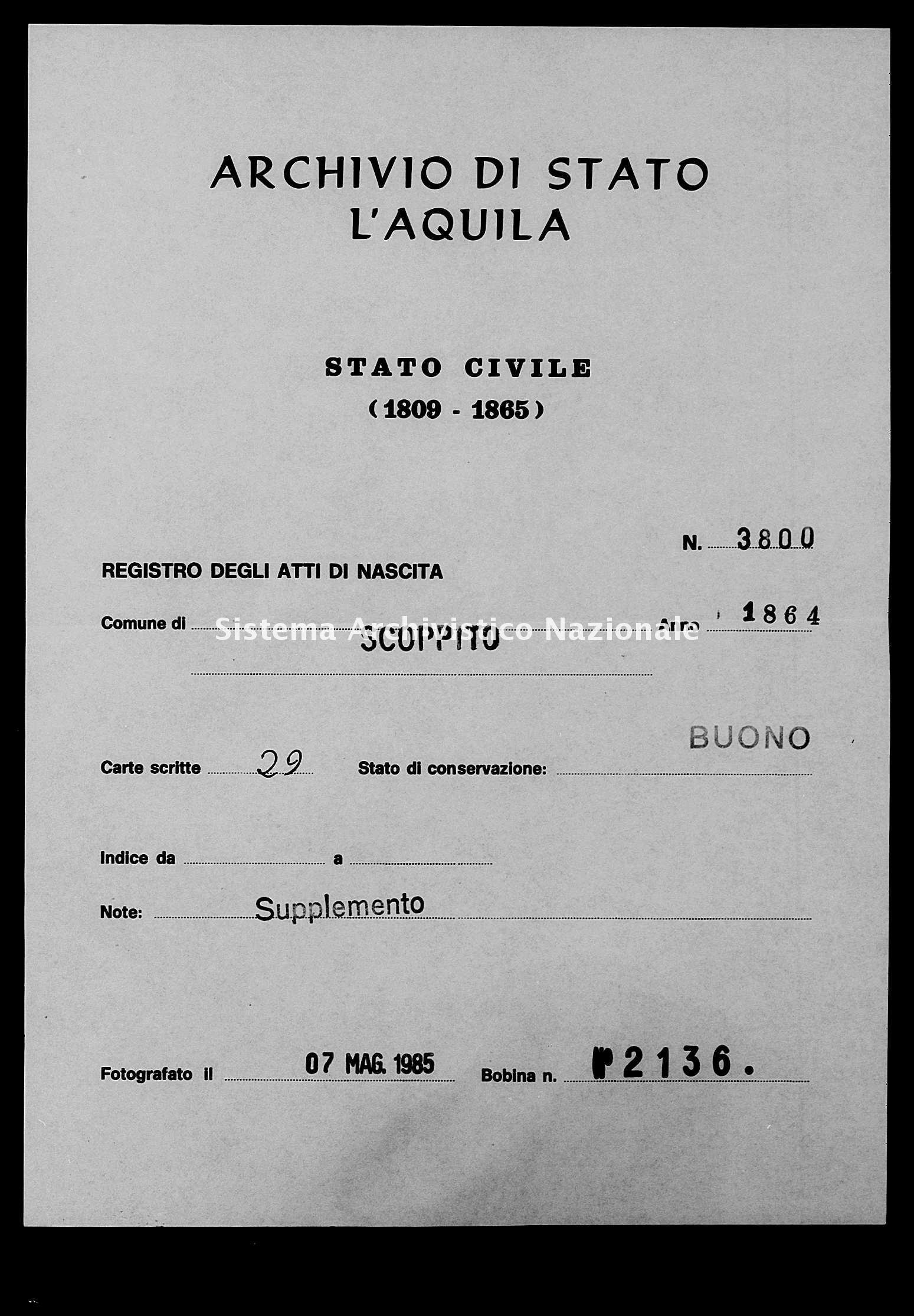 Archivio di stato di L'aquila - Stato civile italiano - Scoppito - Nati, battesimi - 1864 - 3800 -