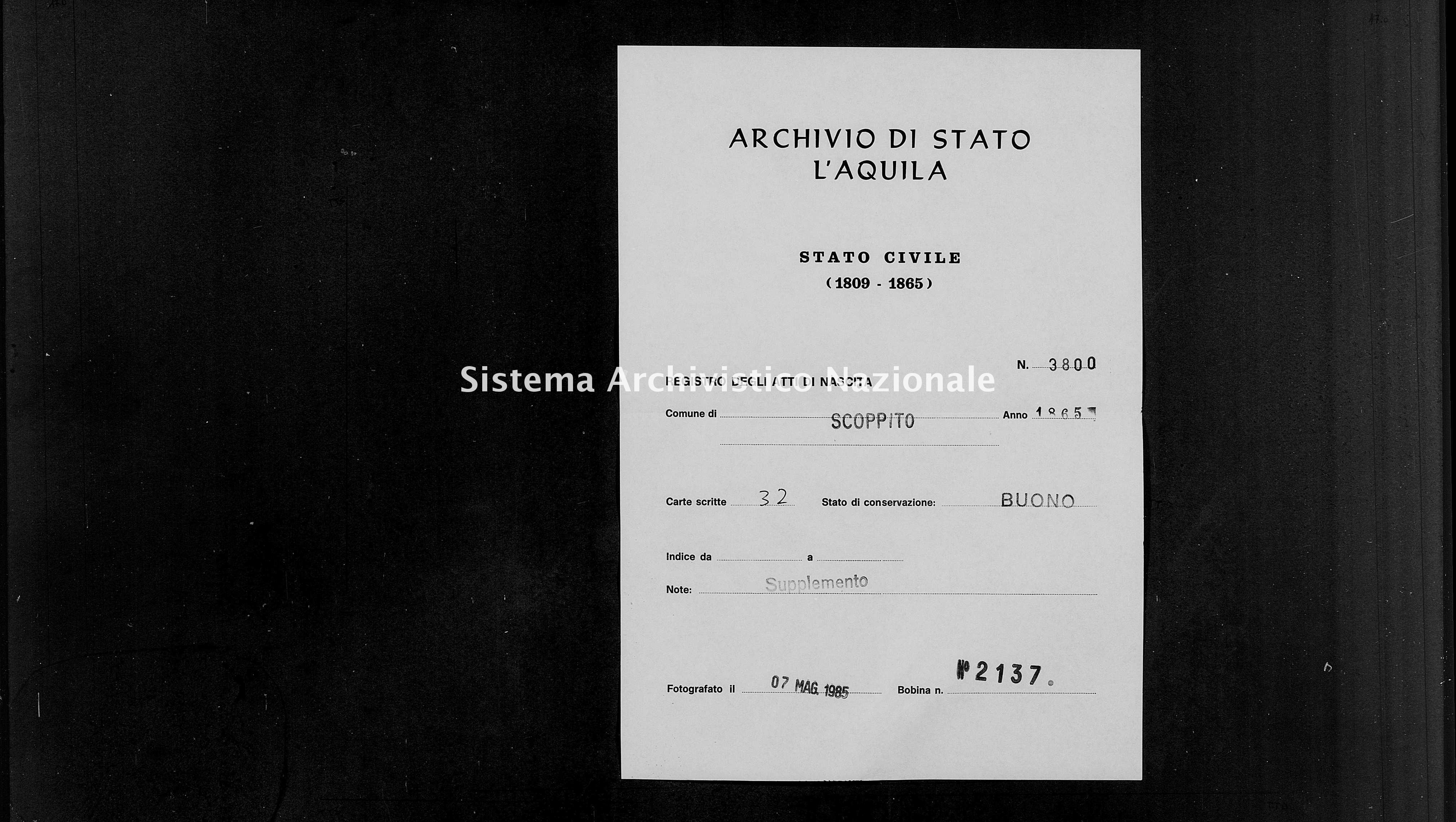 Archivio di stato di L'aquila - Stato civile italiano - Scoppito - Nati, battesimi - 1865 - 3800 -