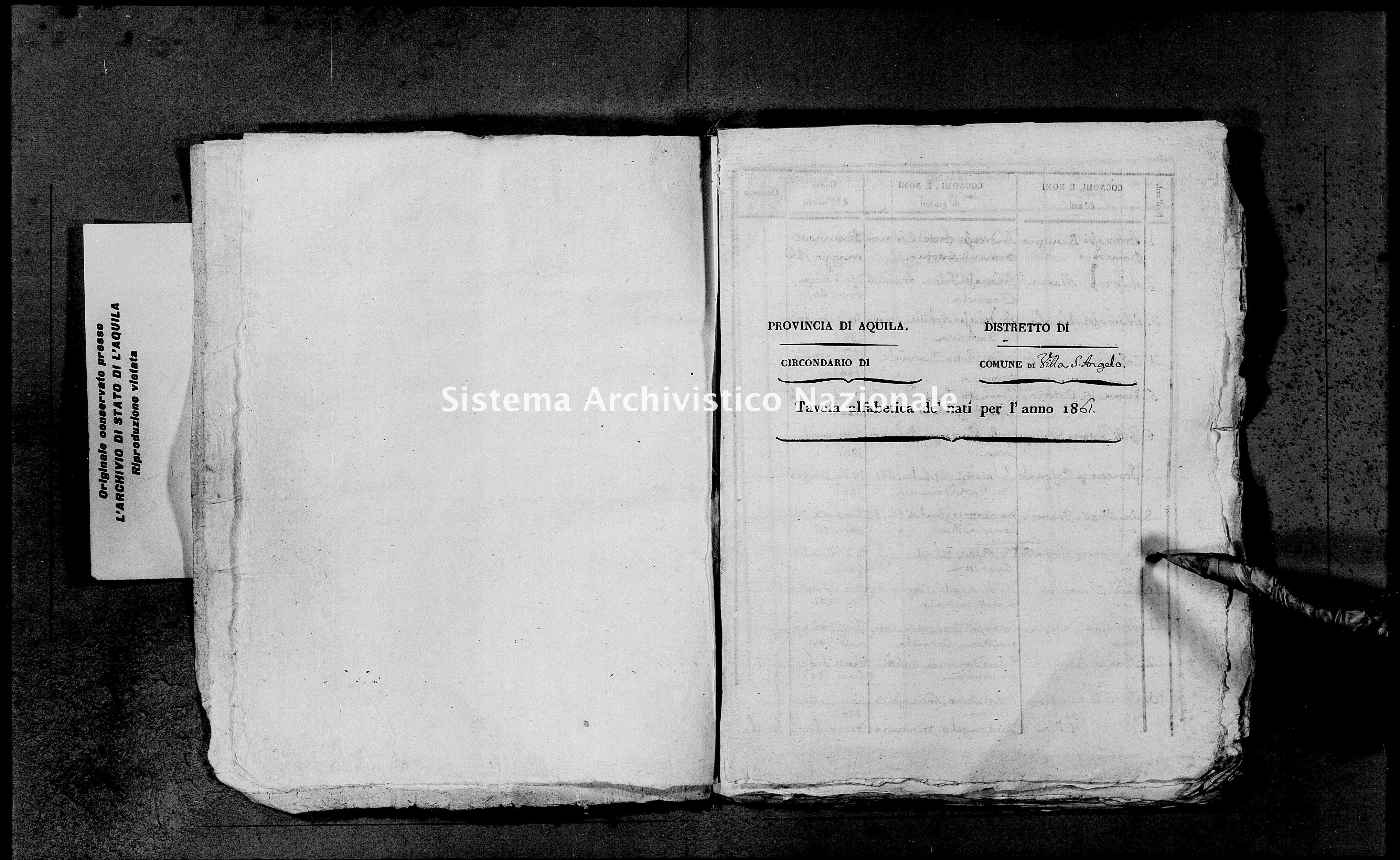Archivio di stato di L'aquila - Stato civile italiano - Villa Sant'Angelo - Nati, dichiarazioni - 1861 - 4267 -