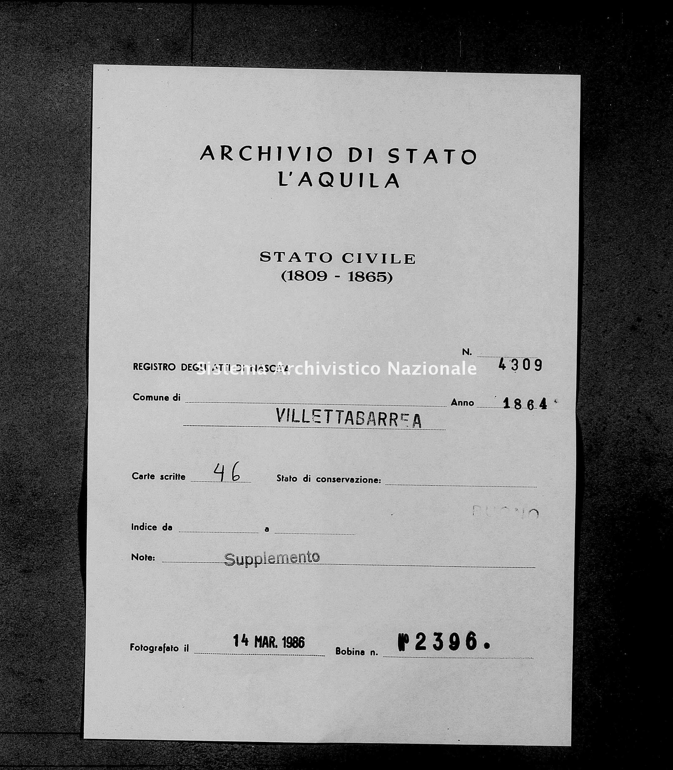 Archivio di stato di L'aquila - Stato civile italiano - Villetta Barrea - Nati, battesimi - 1864 - 4309 -