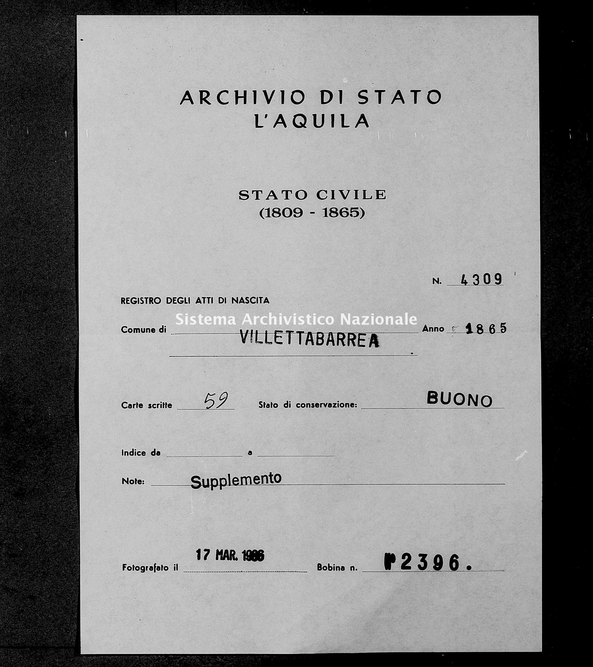 Archivio di stato di L'aquila - Stato civile italiano - Villetta Barrea - Nati, battesimi - 1865 - 4309 -