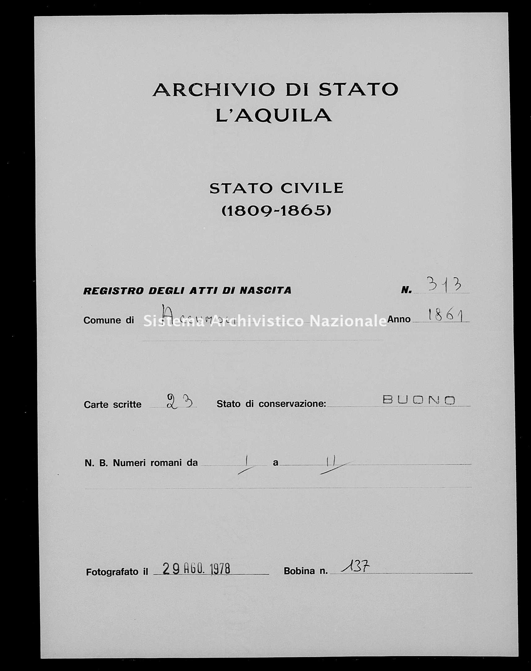 Archivio di stato di L'aquila - Stato civile italiano - Accumoli - Nati - 1861 - 313 -