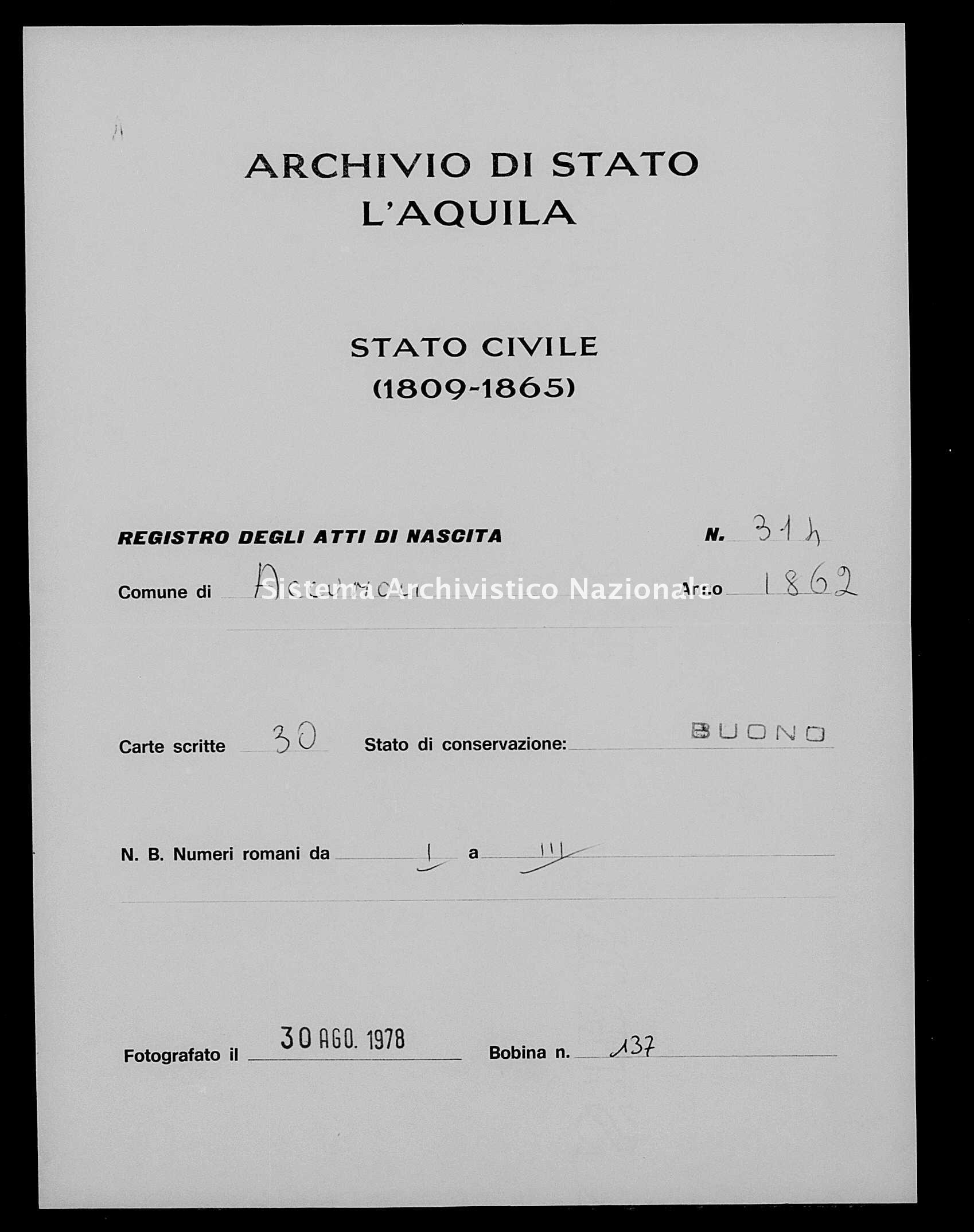 Archivio di stato di L'aquila - Stato civile italiano - Accumoli - Nati - 1862 - 314 -