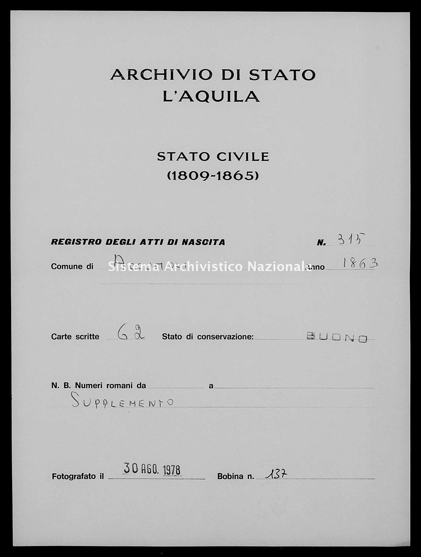Archivio di stato di L'aquila - Stato civile italiano - Accumoli - Nati, battesimi - 1863 - 3145 -