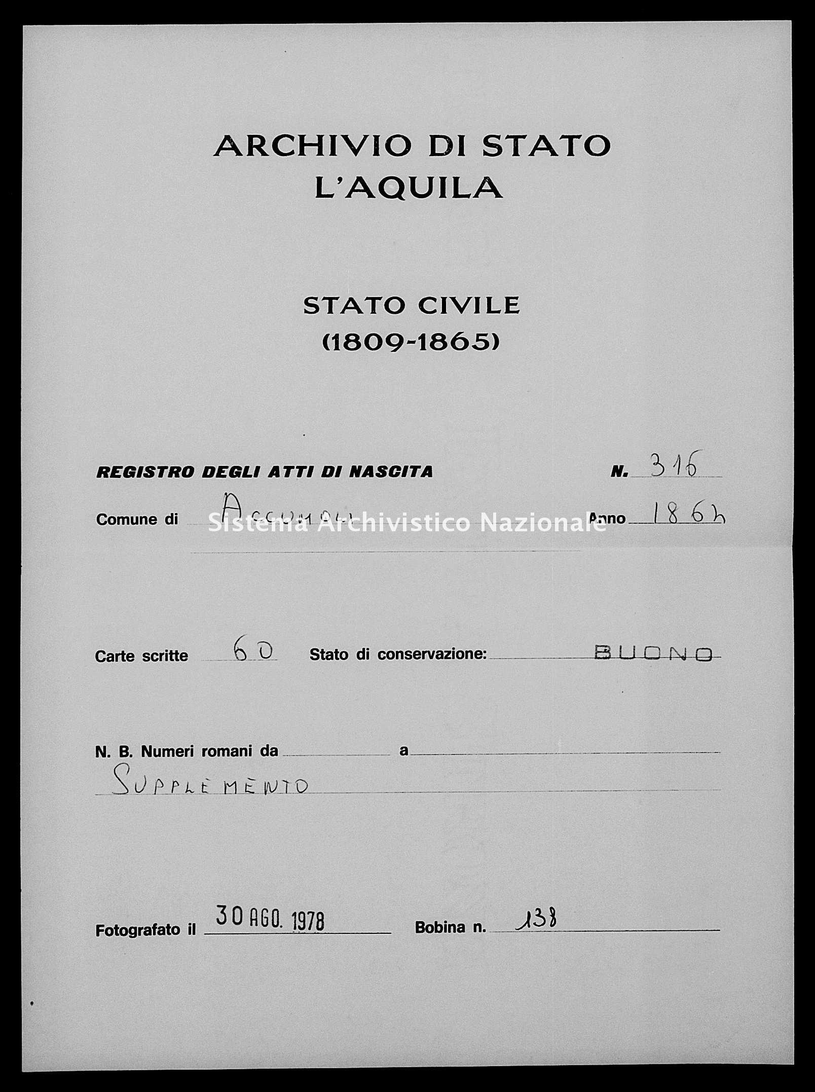 Archivio di stato di L'aquila - Stato civile italiano - Accumoli - Nati, battesimi - 1864 - 316 -