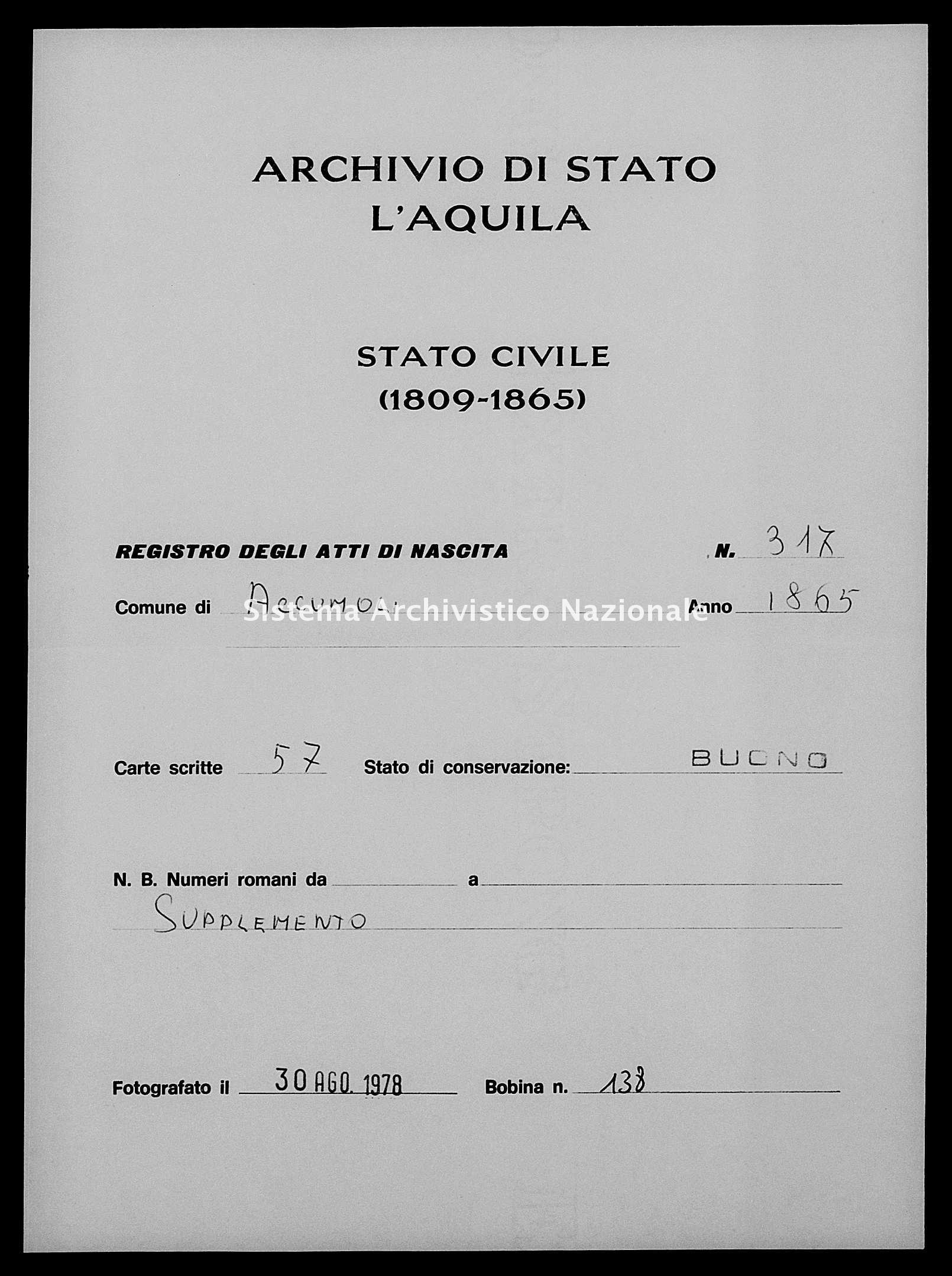 Archivio di stato di L'aquila - Stato civile italiano - Accumoli - Nati, battesimi - 1865 - 317 -