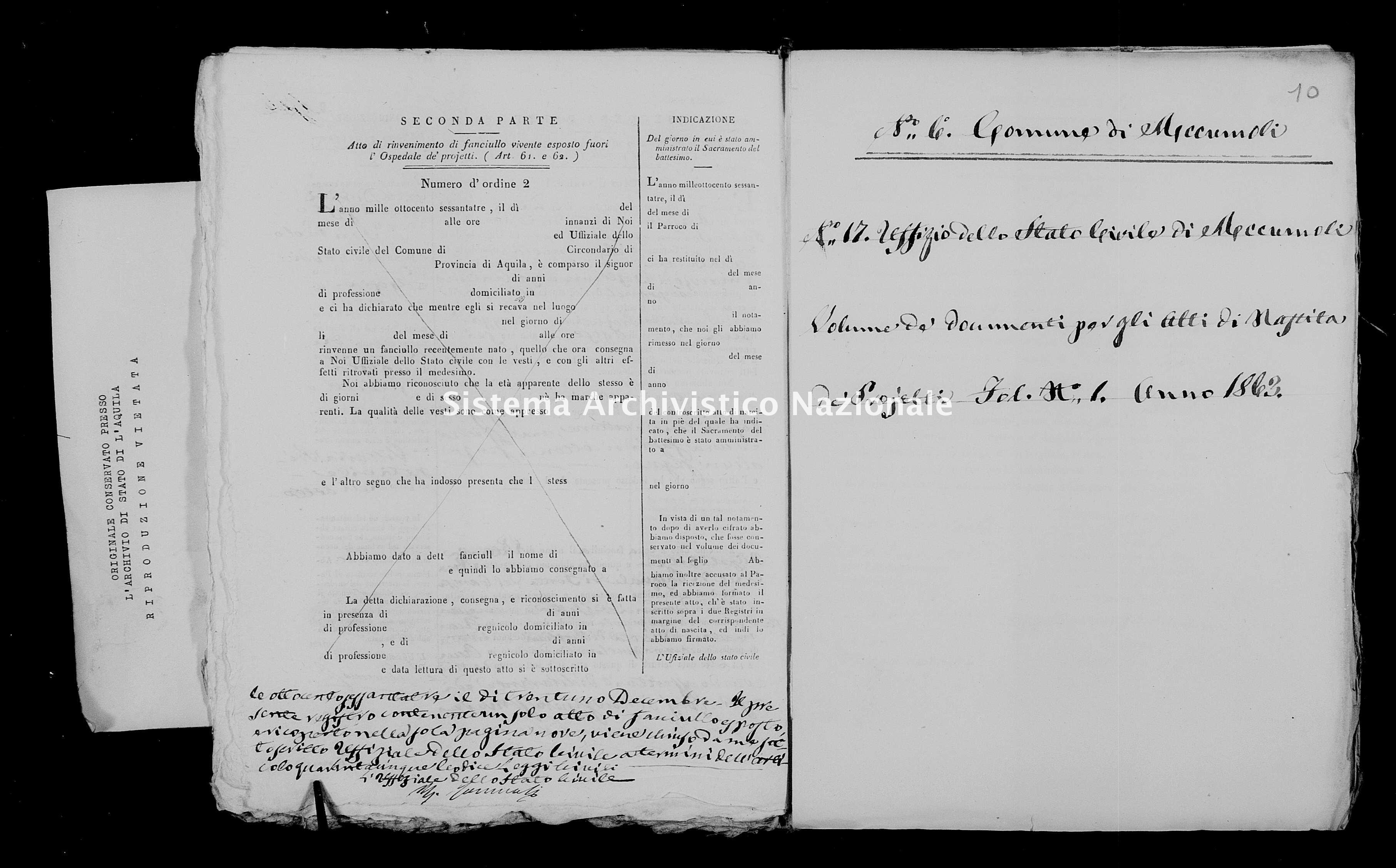 Archivio di stato di L'aquila - Stato civile italiano - Accumoli - Nati, battesimi esposti - 1863 - 3145 -
