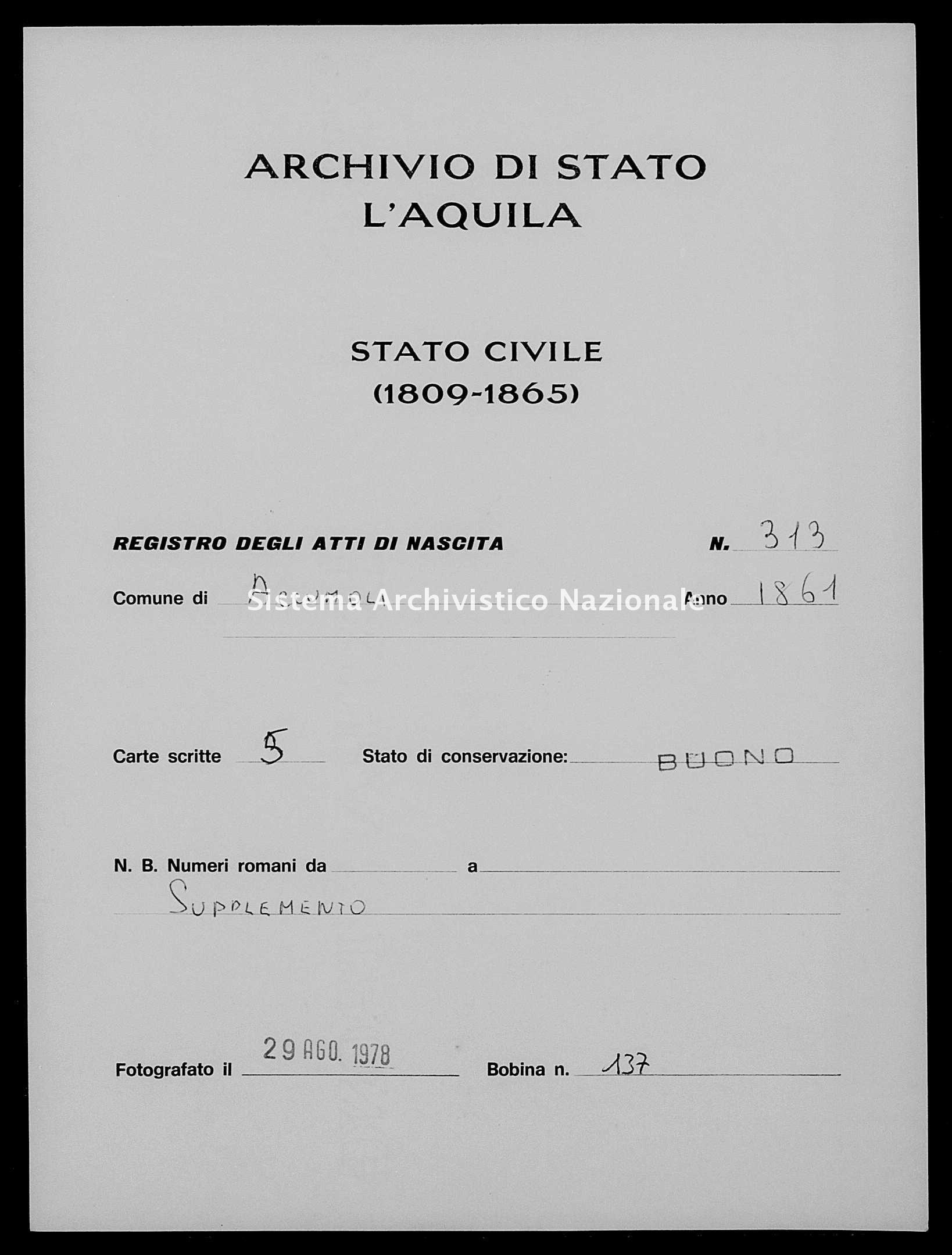 Archivio di stato di L'aquila - Stato civile italiano - Accumoli - Nati, esposti - 1861 - 313 -