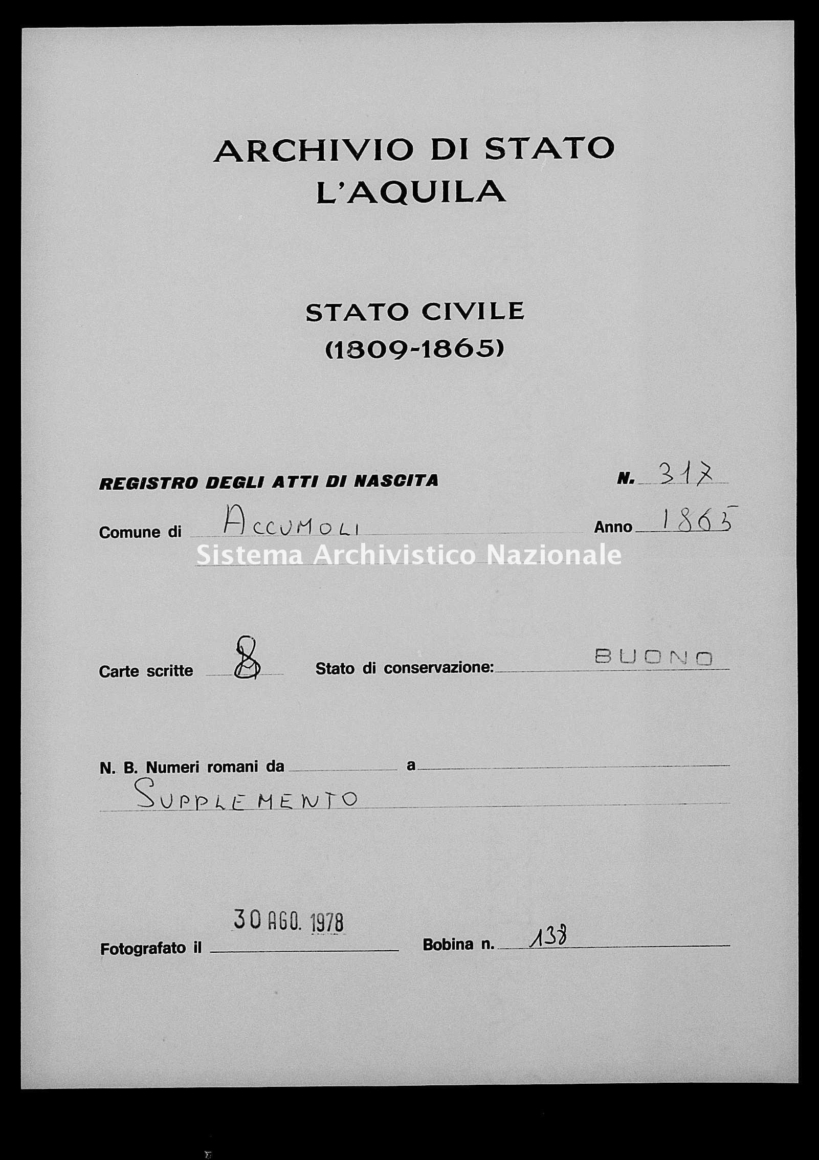 Archivio di stato di L'aquila - Stato civile italiano - Accumoli - Nati, esposti - 1865 - 317 -