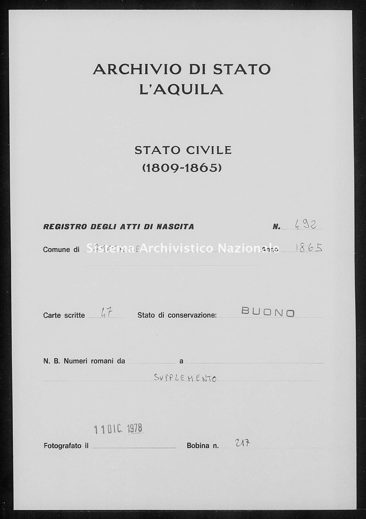 Archivio di stato di L'aquila - Stato civile italiano - Amatrice - Nati, battesimi - 1865 - 492 -