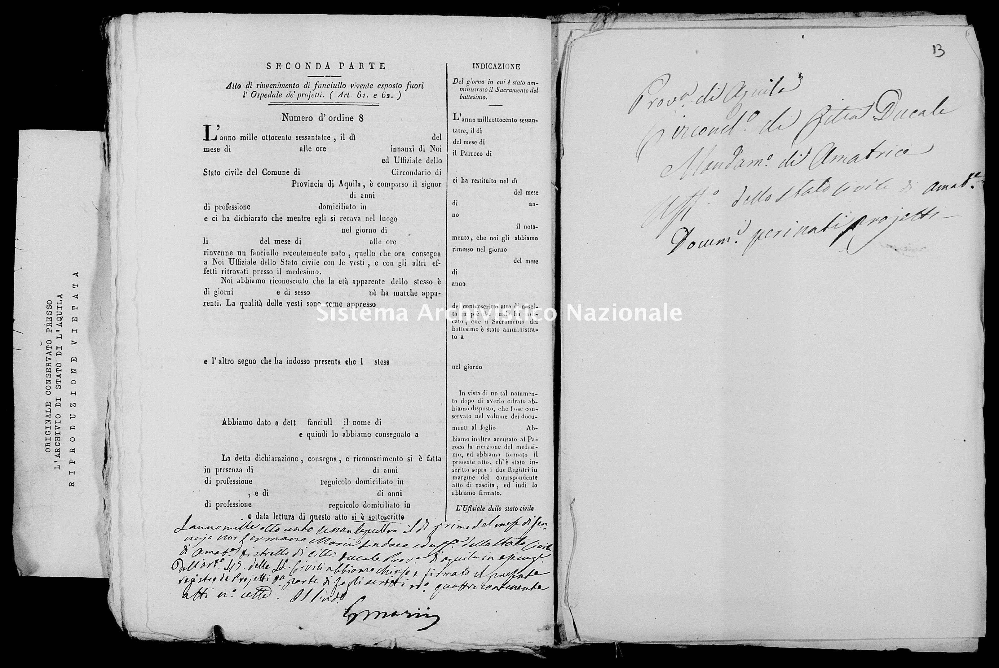 Archivio di stato di L'aquila - Stato civile italiano - Amatrice - Nati, battesimi esposti - 1863 - 486 -