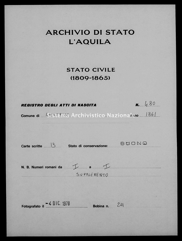 Archivio di stato di L'aquila - Stato civile italiano - Amatrice - Nati, esposti - 1861 - 480 -
