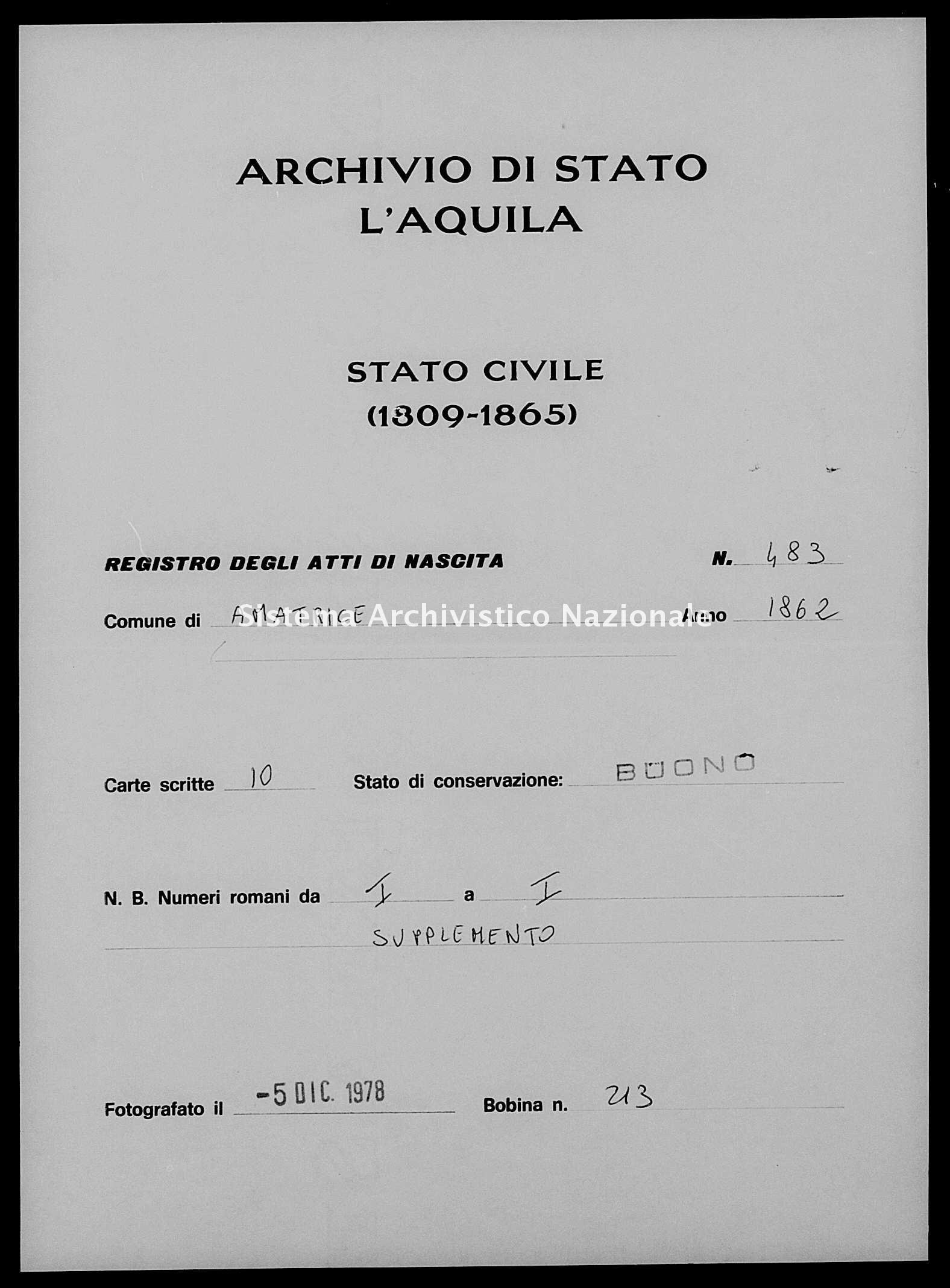 Archivio di stato di L'aquila - Stato civile italiano - Amatrice - Nati, esposti - 1862 - 483 -