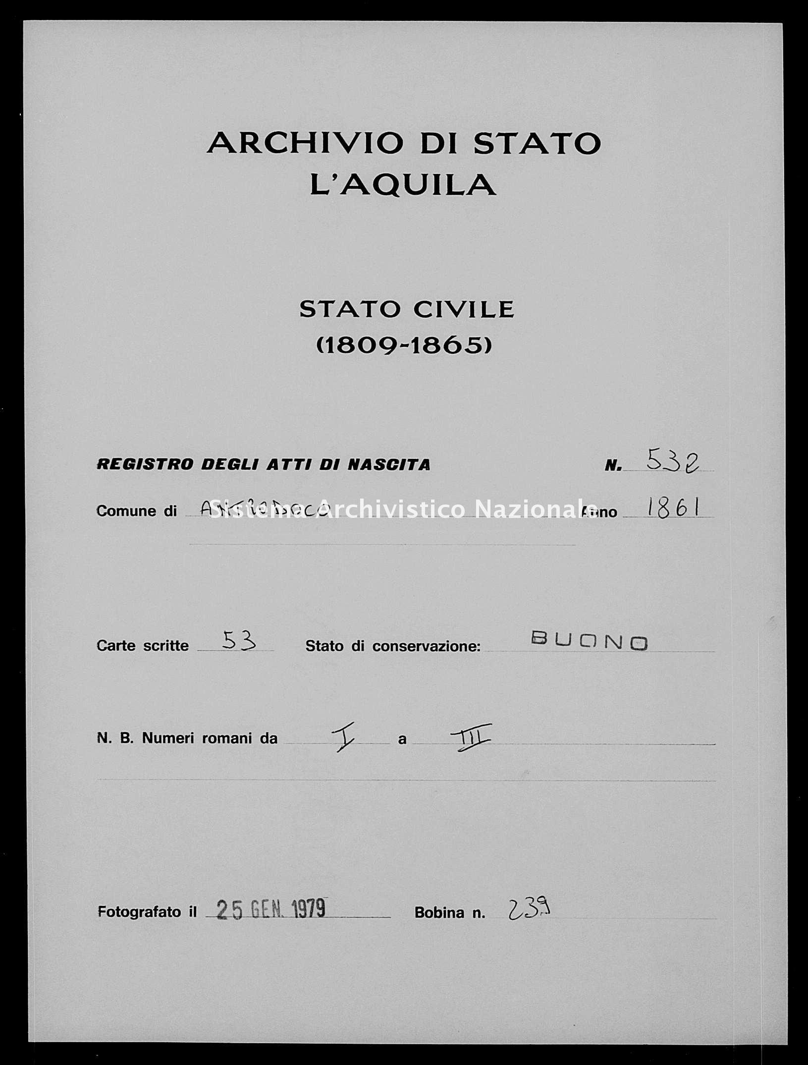 Archivio di stato di L'aquila - Stato civile italiano - Antrodoco - Nati - 1861 - 532 -