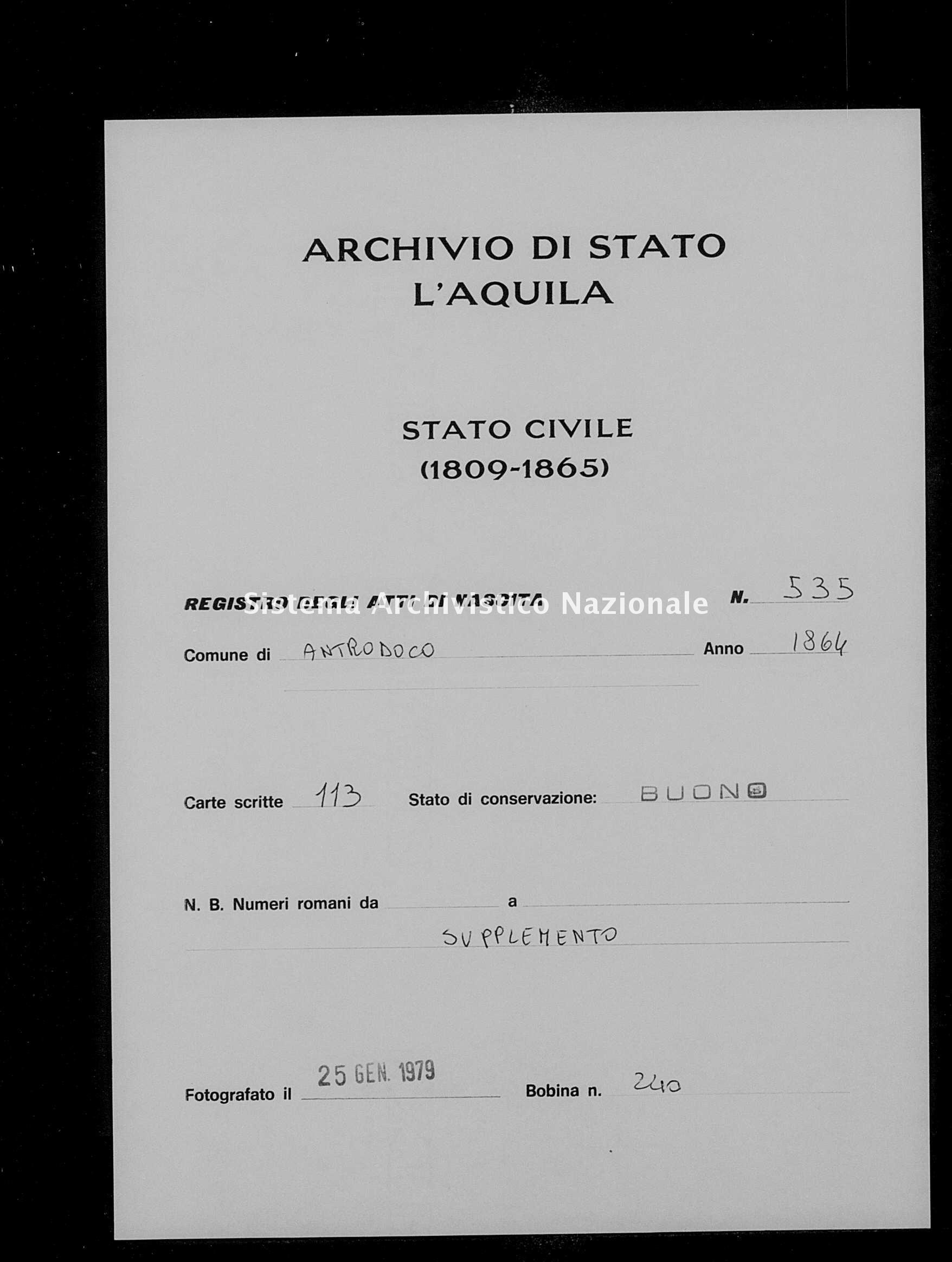Archivio di stato di L'aquila - Stato civile italiano - Antrodoco - Nati, battesimi - 1864 - 535 -