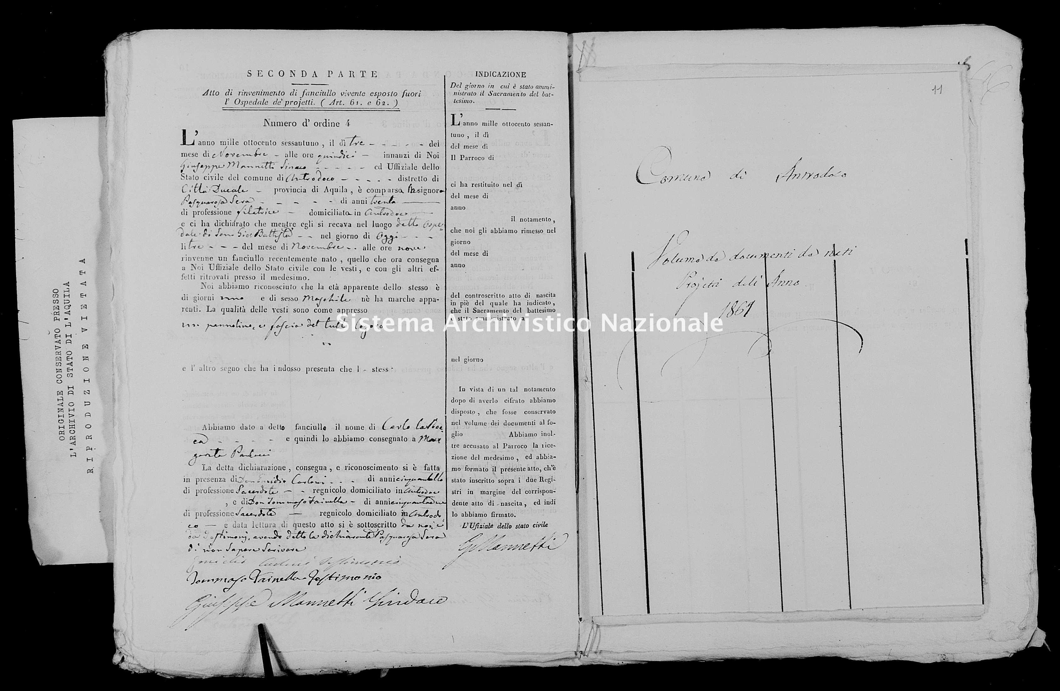 Archivio di stato di L'aquila - Stato civile italiano - Antrodoco - Nati, battesimi esposti - 1861 - 532 -