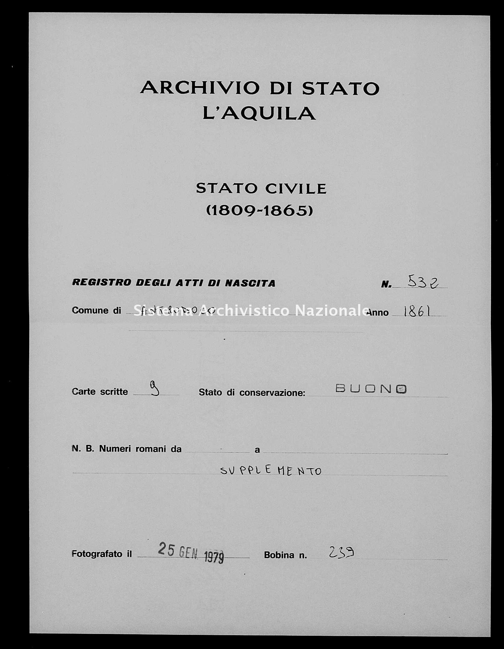 Archivio di stato di L'aquila - Stato civile italiano - Antrodoco - Nati esposti - 1861 - 532 -