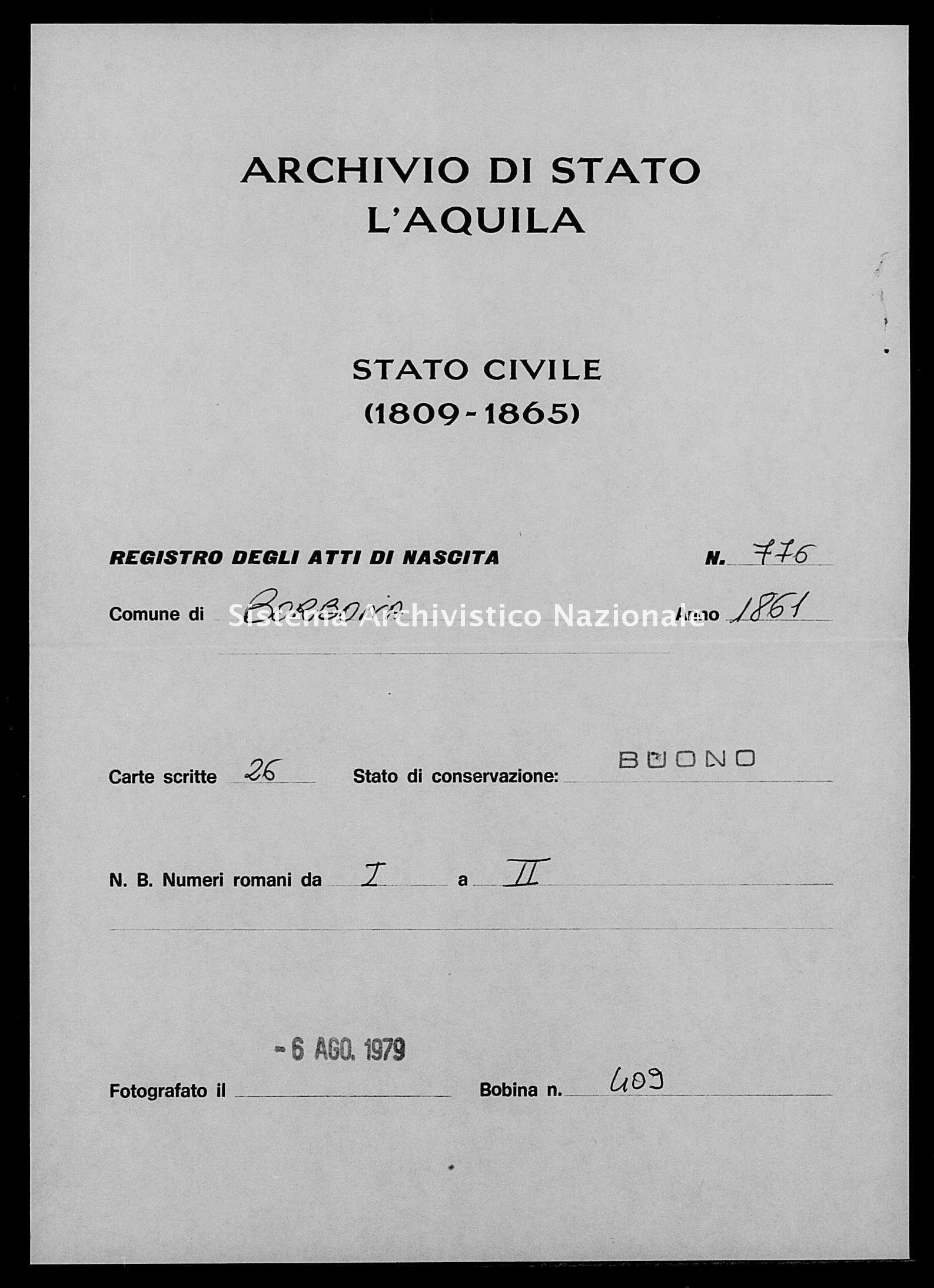 Archivio di stato di L'aquila - Stato civile italiano - Borbona - Nati - 1861 - 776 -