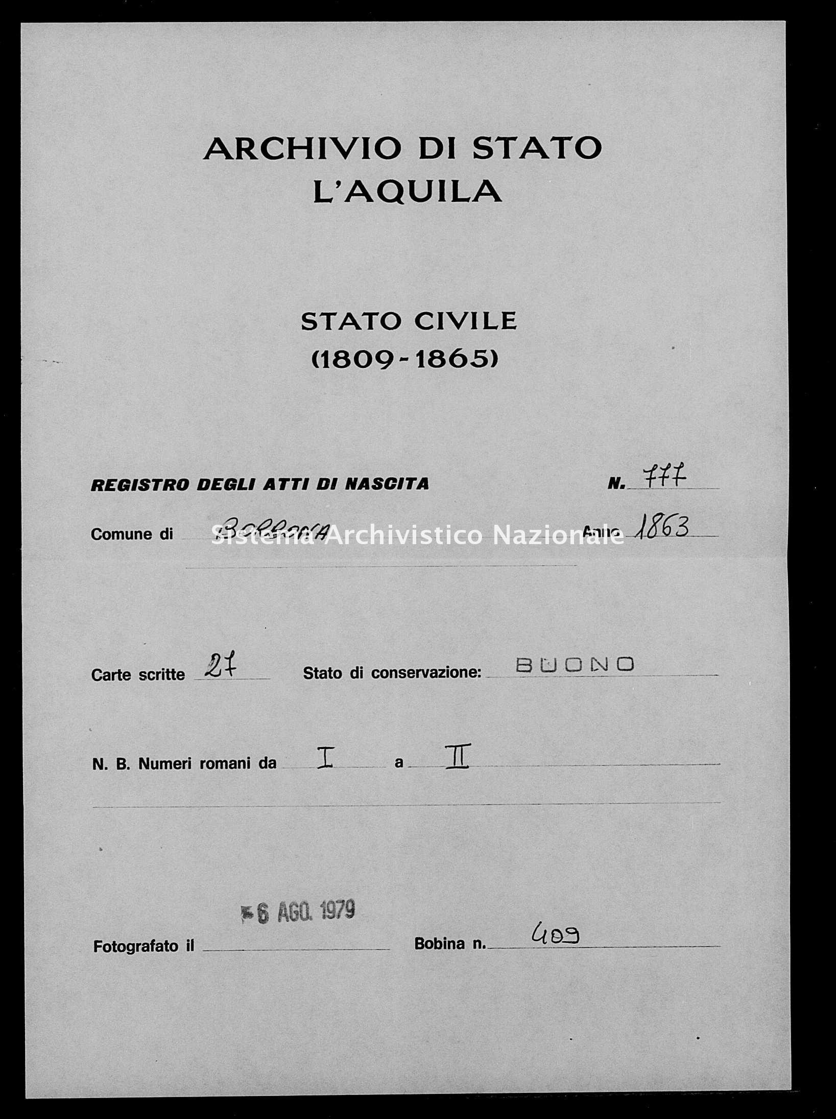 Archivio di stato di L'aquila - Stato civile italiano - Borbona - Nati - 1863 - 777 -