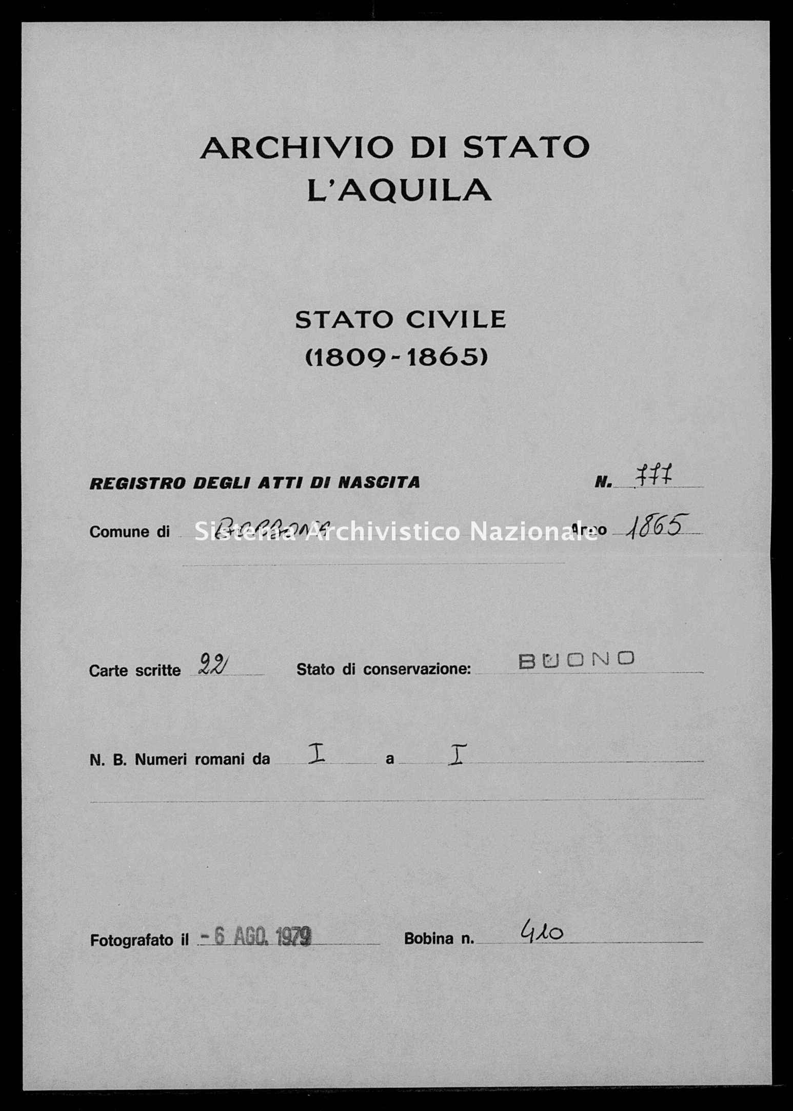 Archivio di stato di L'aquila - Stato civile italiano - Borbona - Nati - 1865 - 777 -