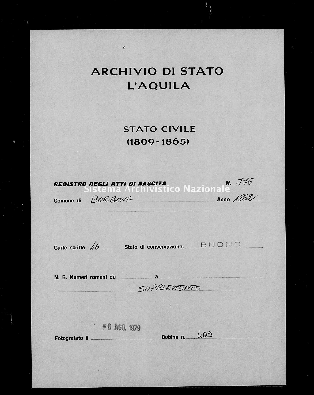 Archivio di stato di L'aquila - Stato civile italiano - Borbona - Nati, battesimi - 1862 - 776 -
