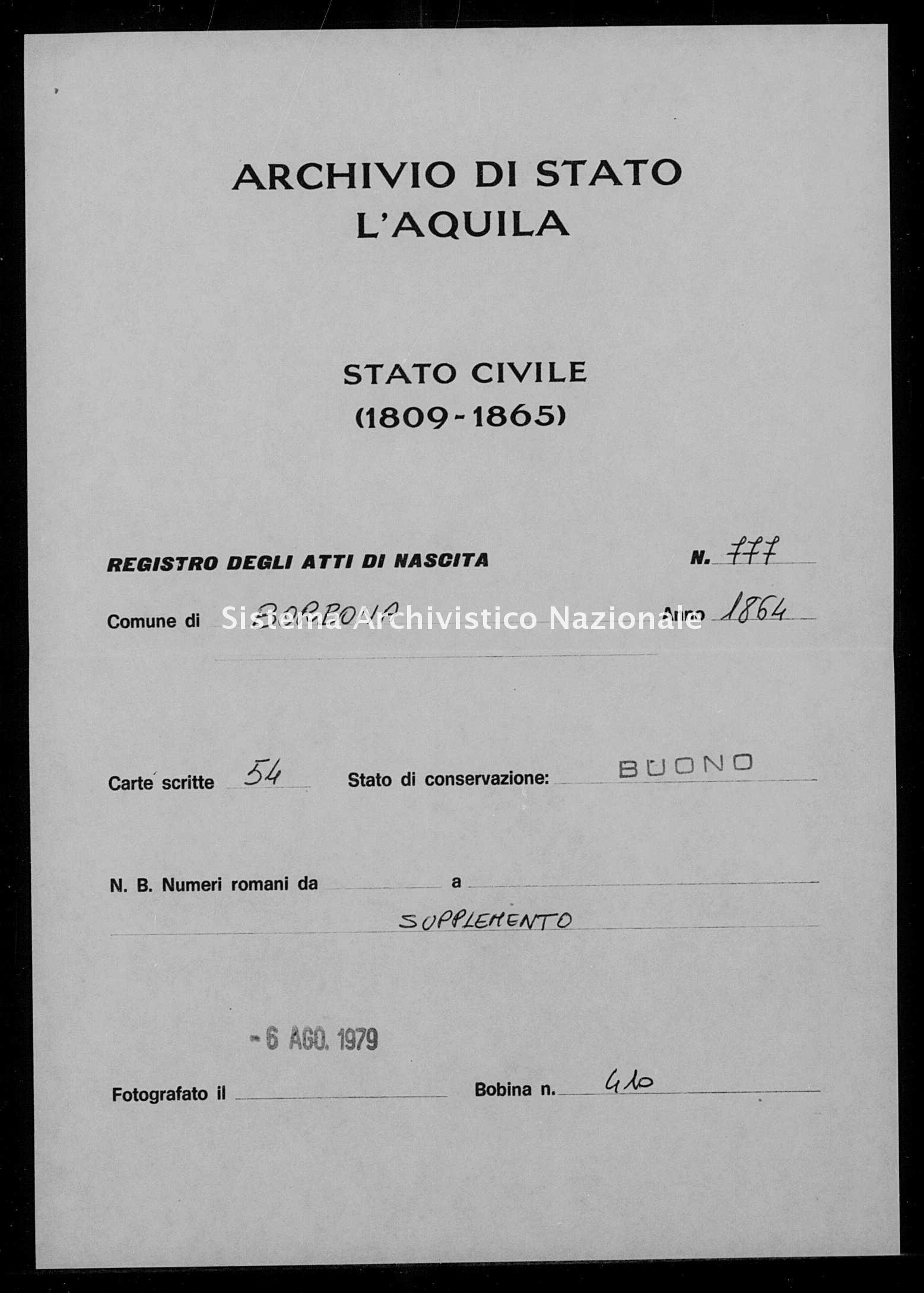 Archivio di stato di L'aquila - Stato civile italiano - Borbona - Nati, battesimi - 1864 - 777 -