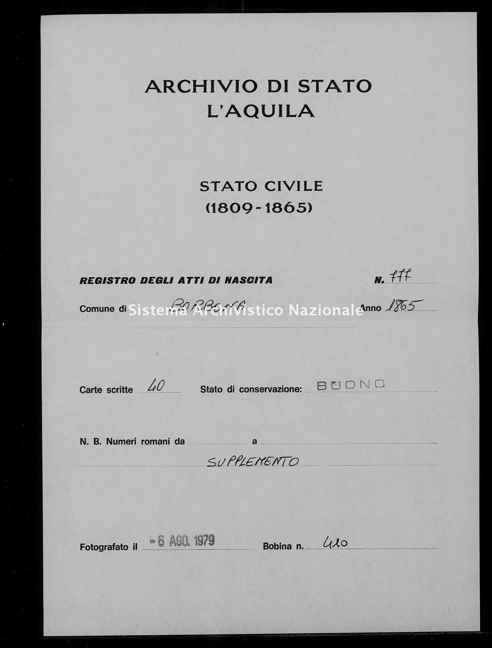 Archivio di stato di L'aquila - Stato civile italiano - Borbona - Nati, battesimi - 1865 - 777 -