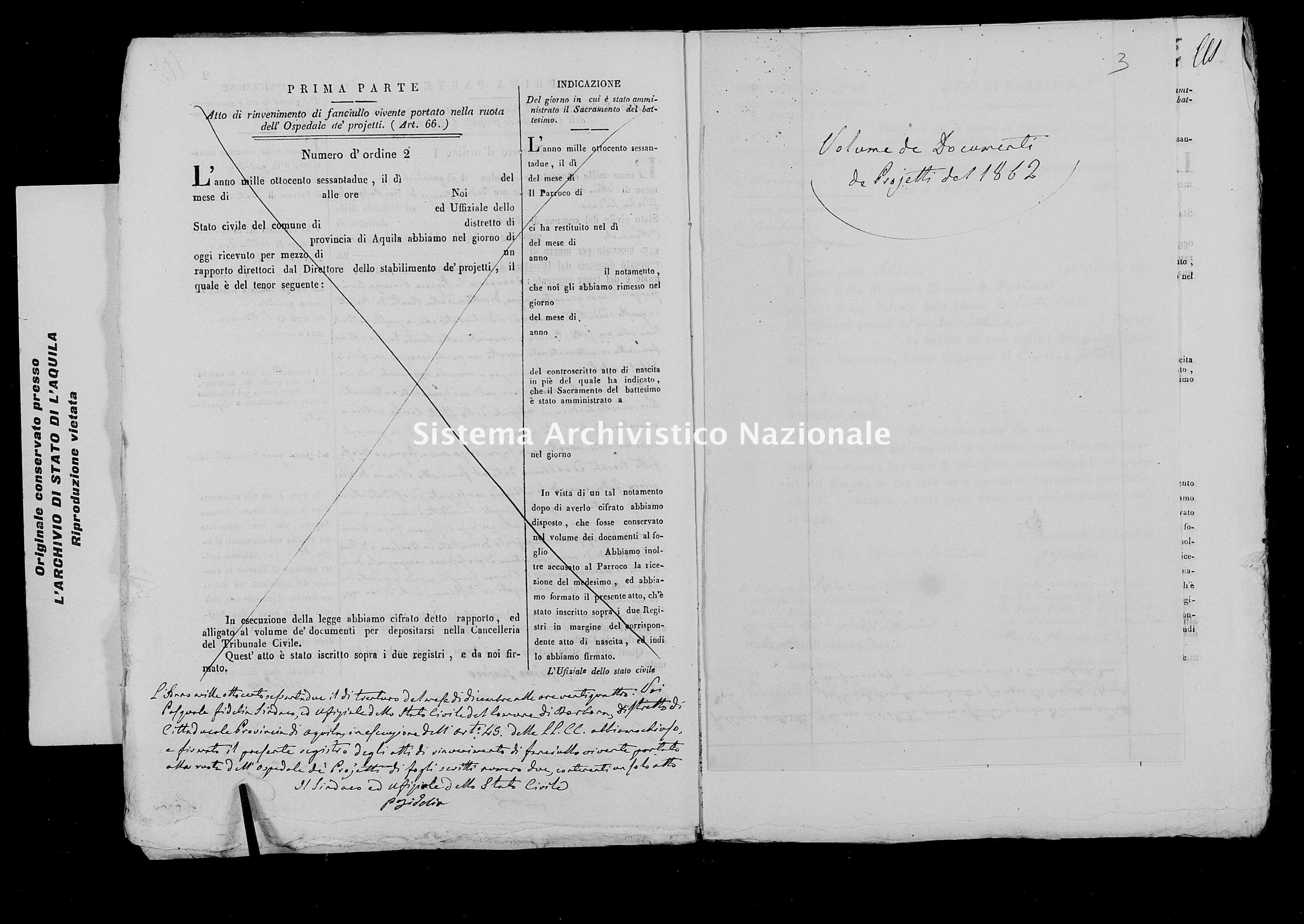 Archivio di stato di L'aquila - Stato civile italiano - Borbona - Nati, battesimi esposti - 1862 - 776 -