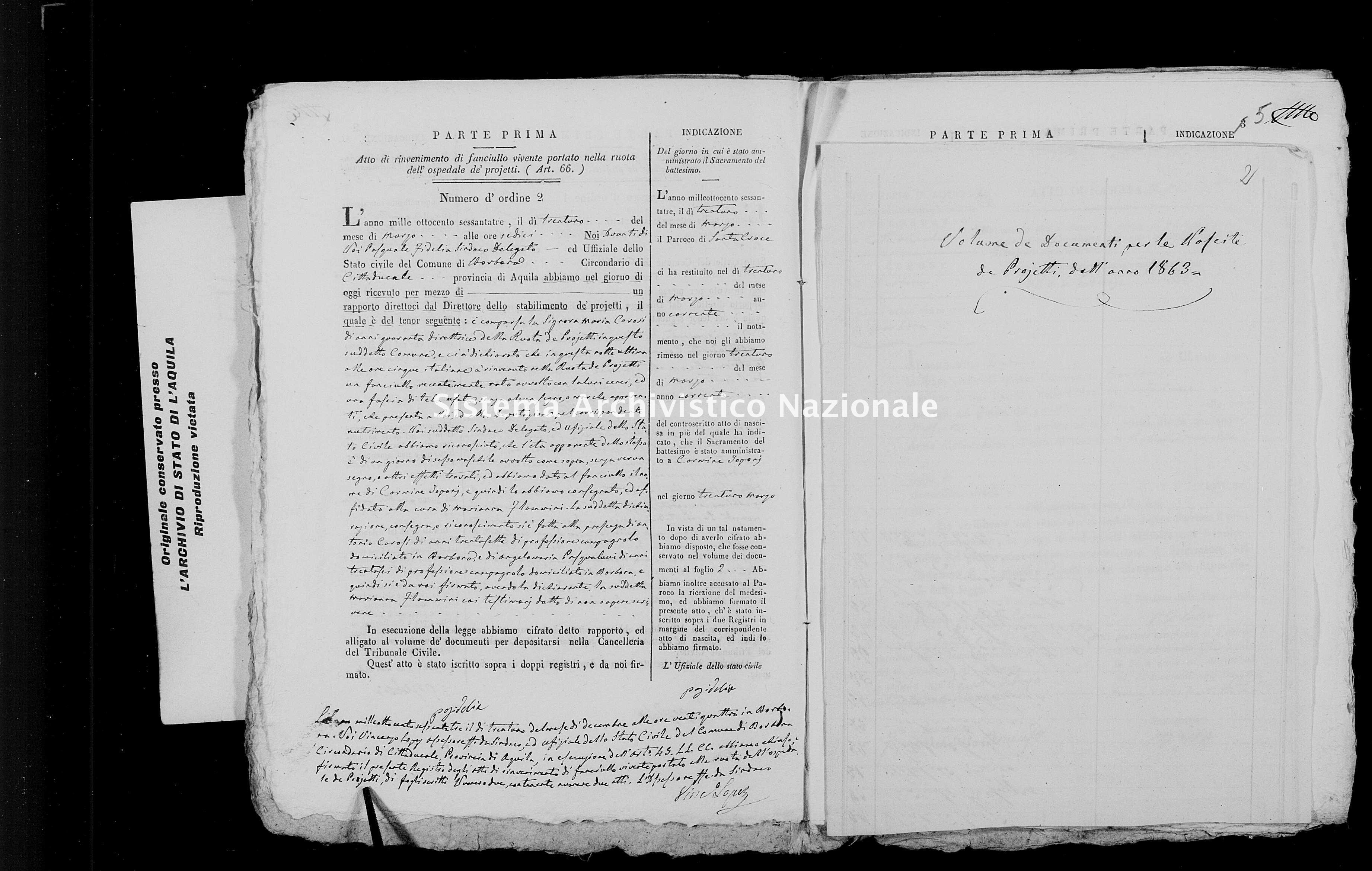 Archivio di stato di L'aquila - Stato civile italiano - Borbona - Nati, battesimi esposti - 1863 - 777 -