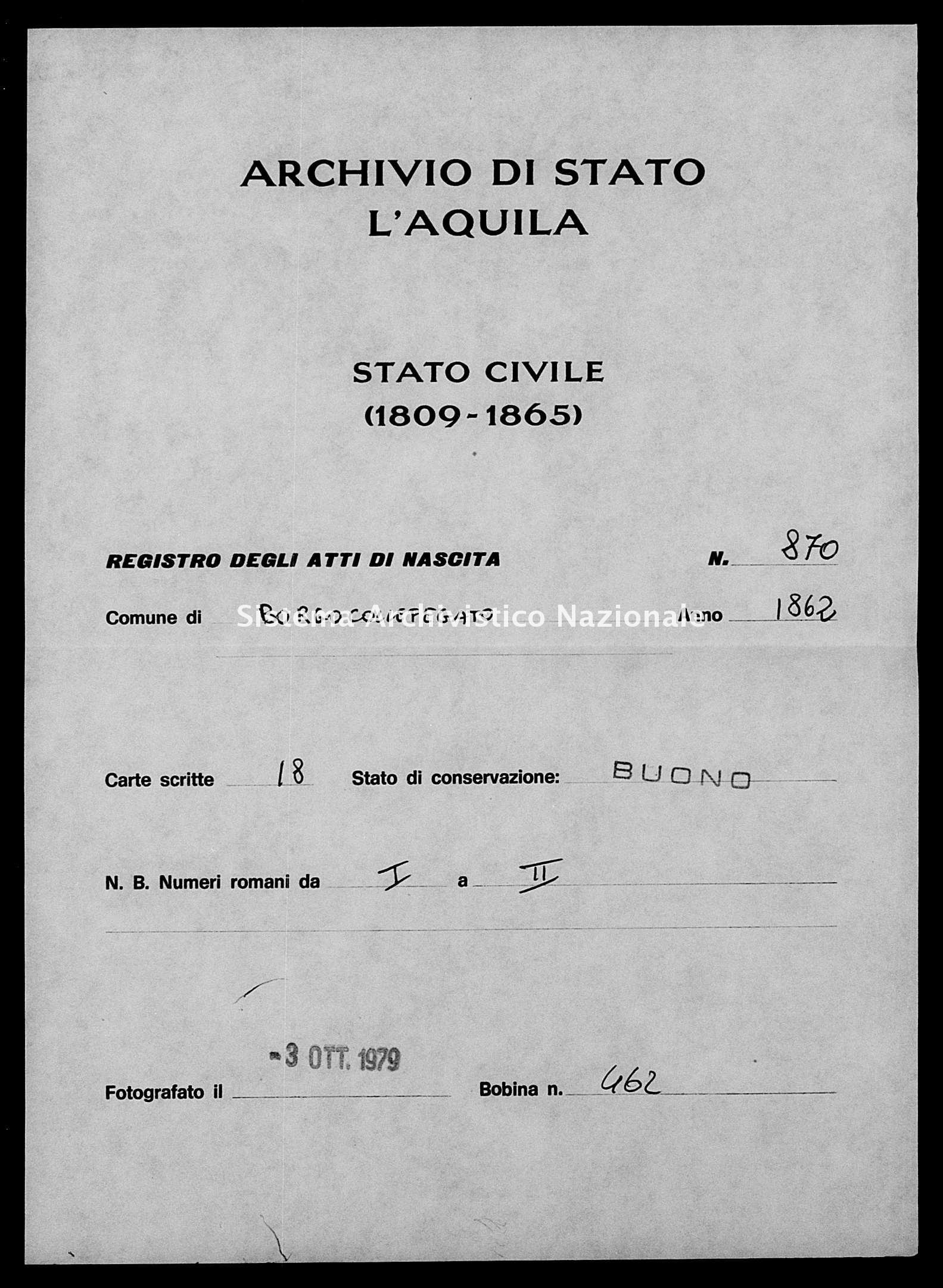 Archivio di stato di L'aquila - Stato civile italiano - Borgocollefegato - Nati - 1862 - 870 -