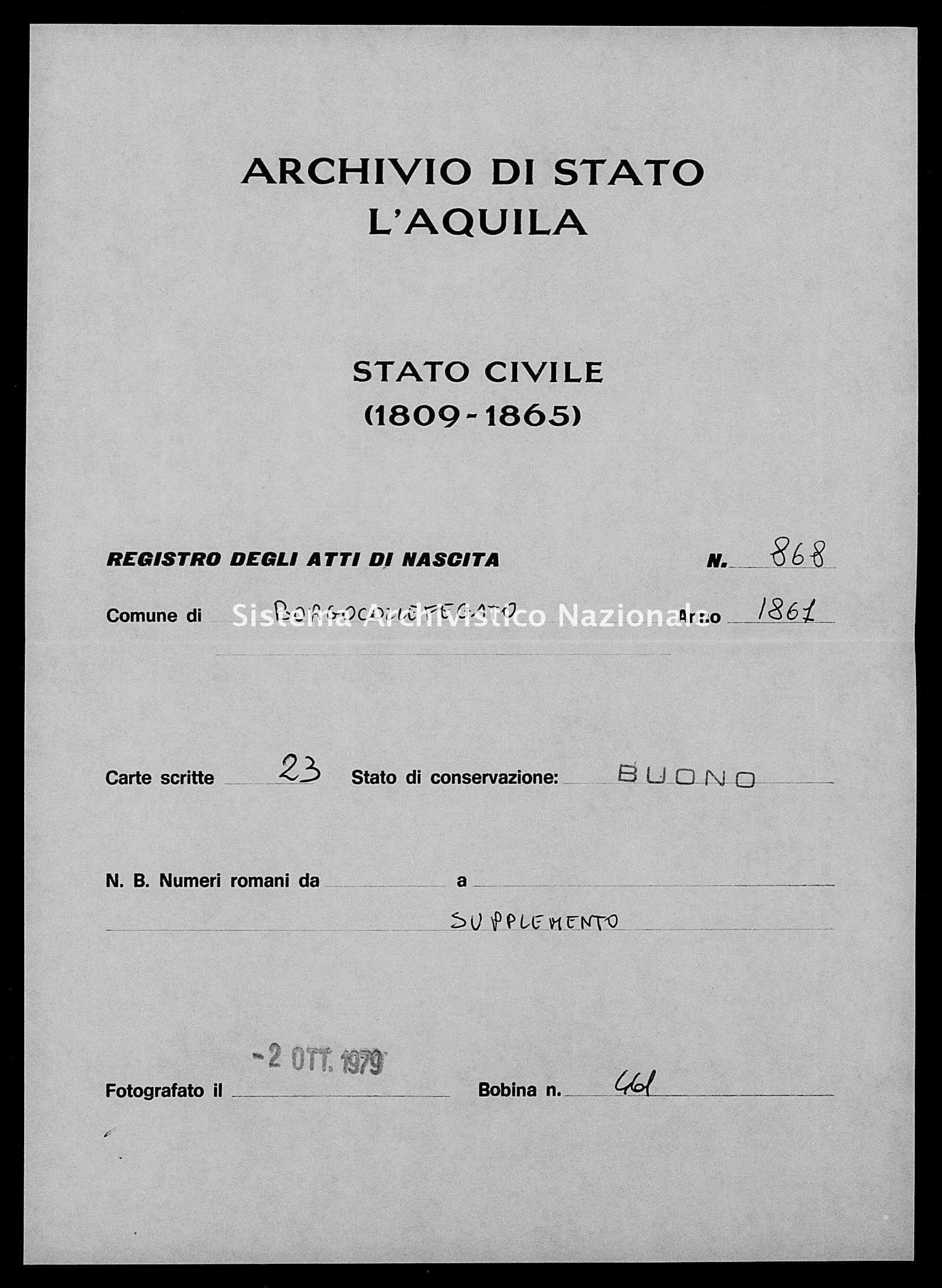 Archivio di stato di L'aquila - Stato civile italiano - Borgocollefegato - Nati, battesimi - 1861 - 868 -