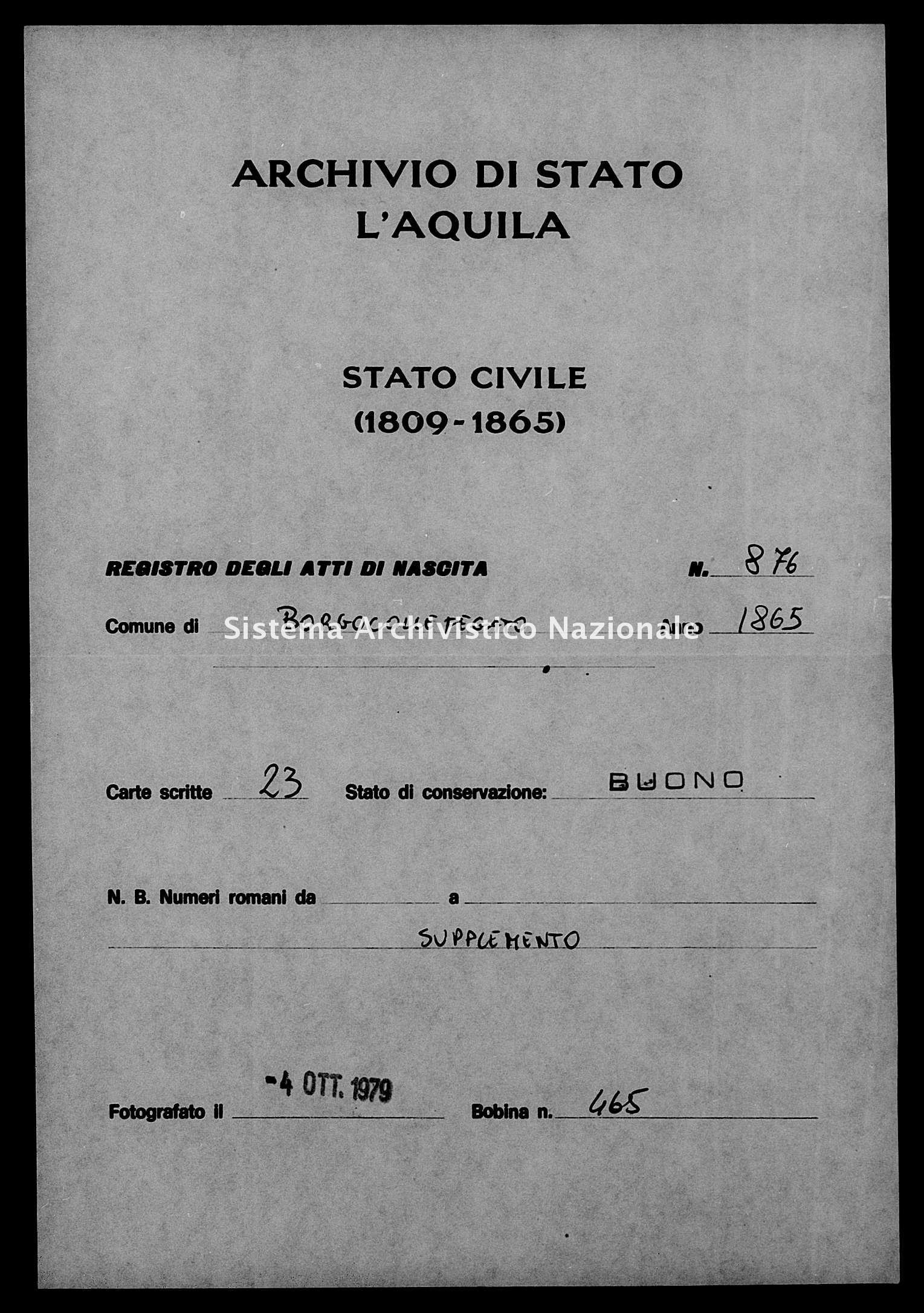 Archivio di stato di L'aquila - Stato civile italiano - Borgocollefegato - Nati, battesimi - 1865 - 876 -