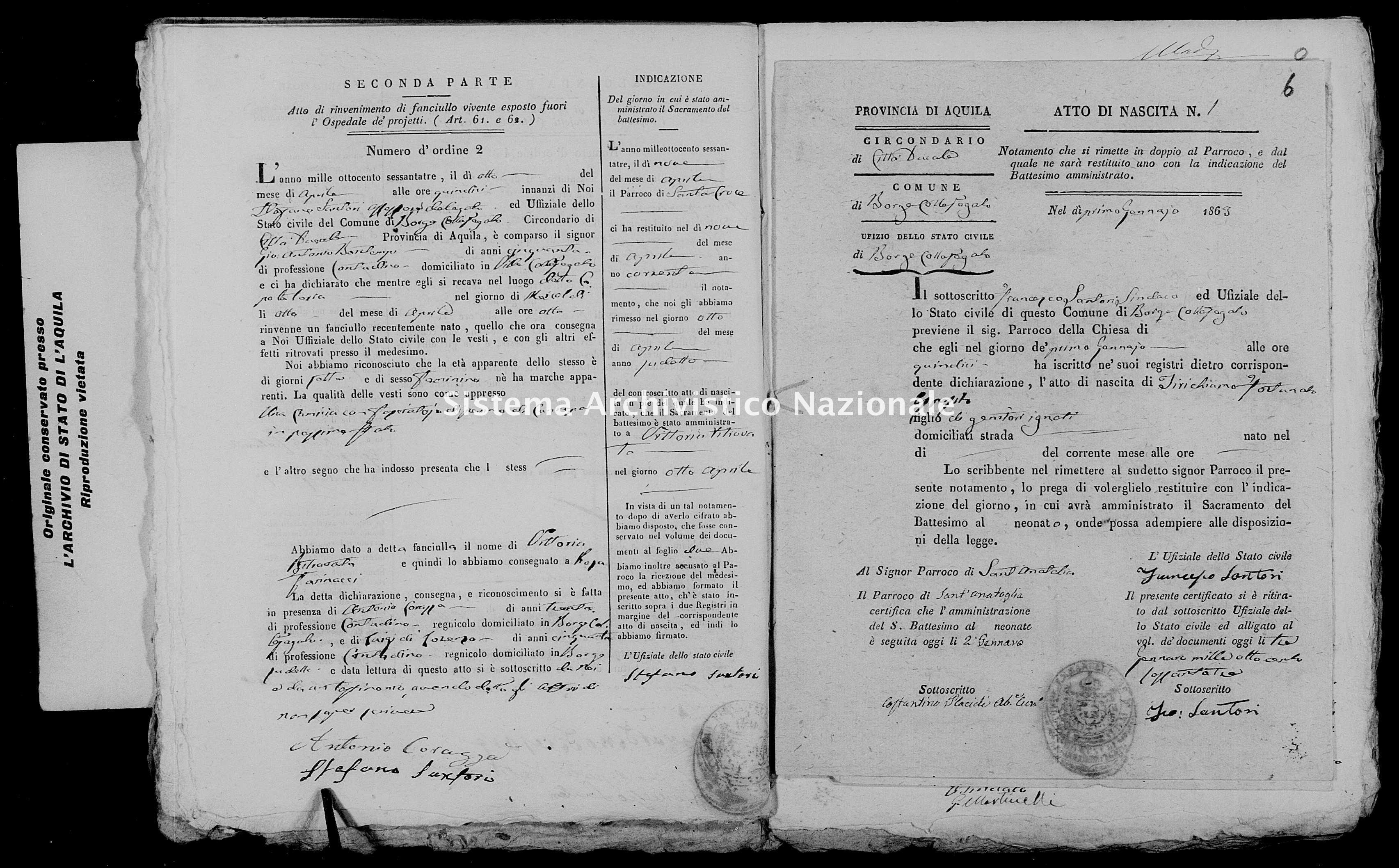 Archivio di stato di L'aquila - Stato civile italiano - Borgocollefegato - Nati, battesimi esposti - 1863 - 872 -