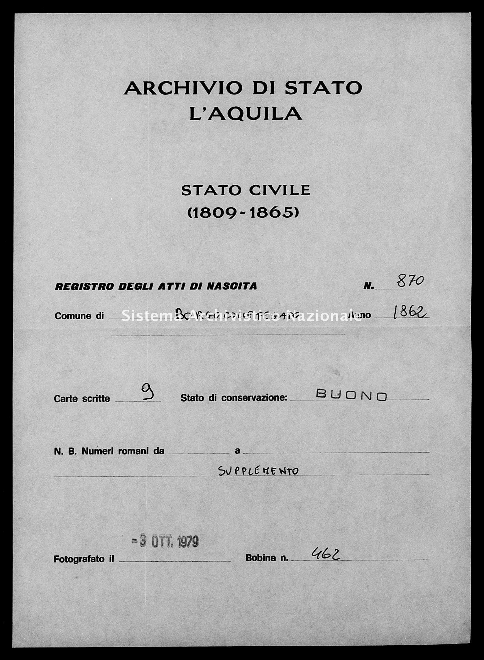 Archivio di stato di L'aquila - Stato civile italiano - Borgocollefegato - Nati, esposti - 1862 - 870 -